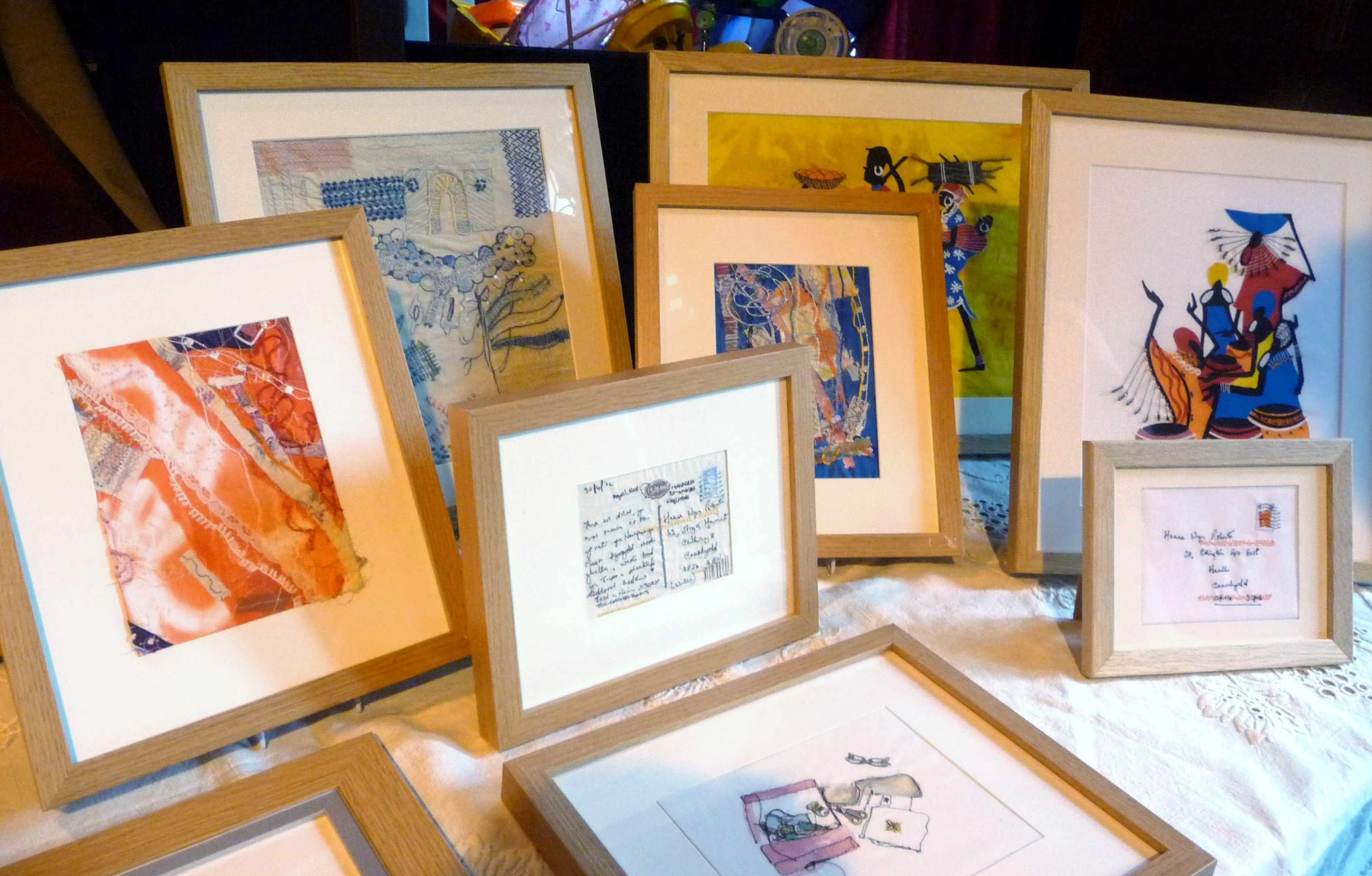 small section of Hanna Wyn Roberts exhibition of embroidered pictures at 2014 September Tea Party