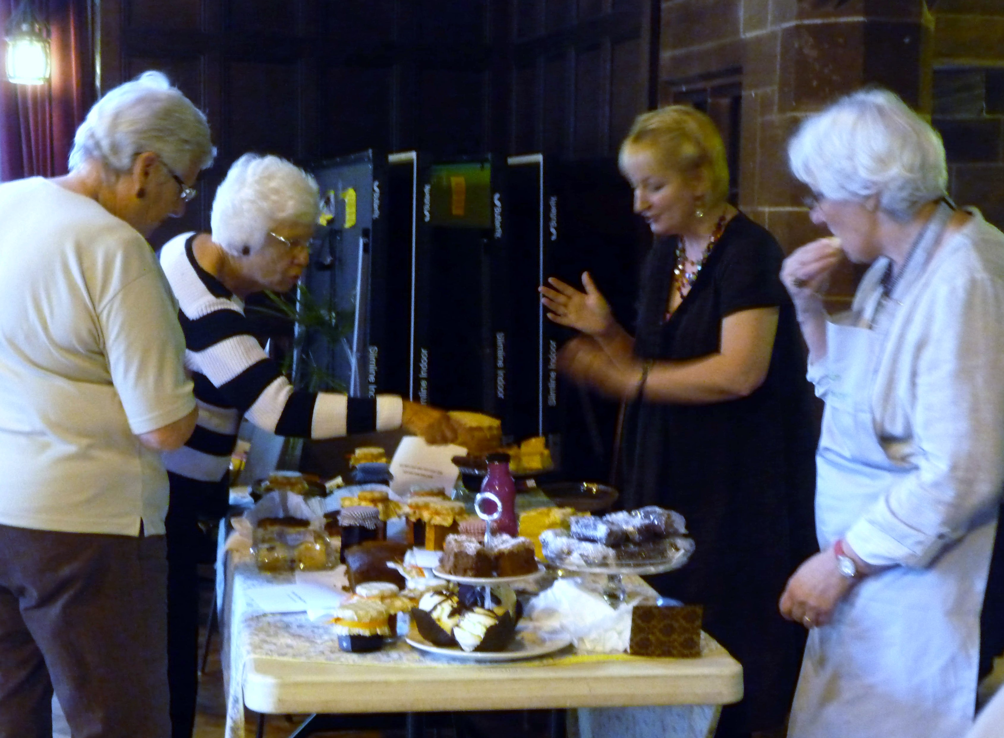 Sarah and Linda with their Cake Stall at 2014 September Tea Party
