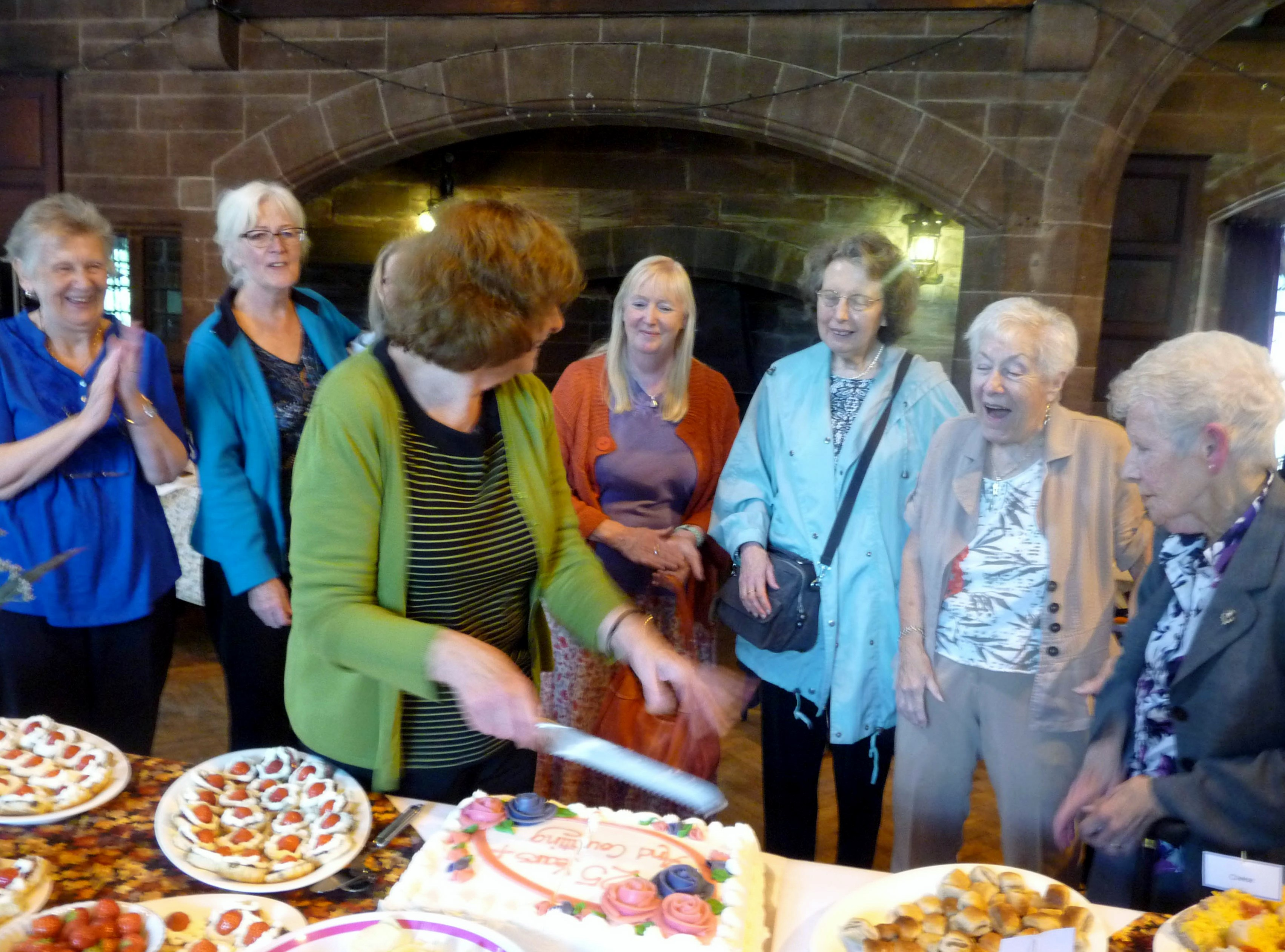 These ladies are all MEG members who have been in the Guild for 25 years or more. We had a special celebratory cake for them at our September Tea Party