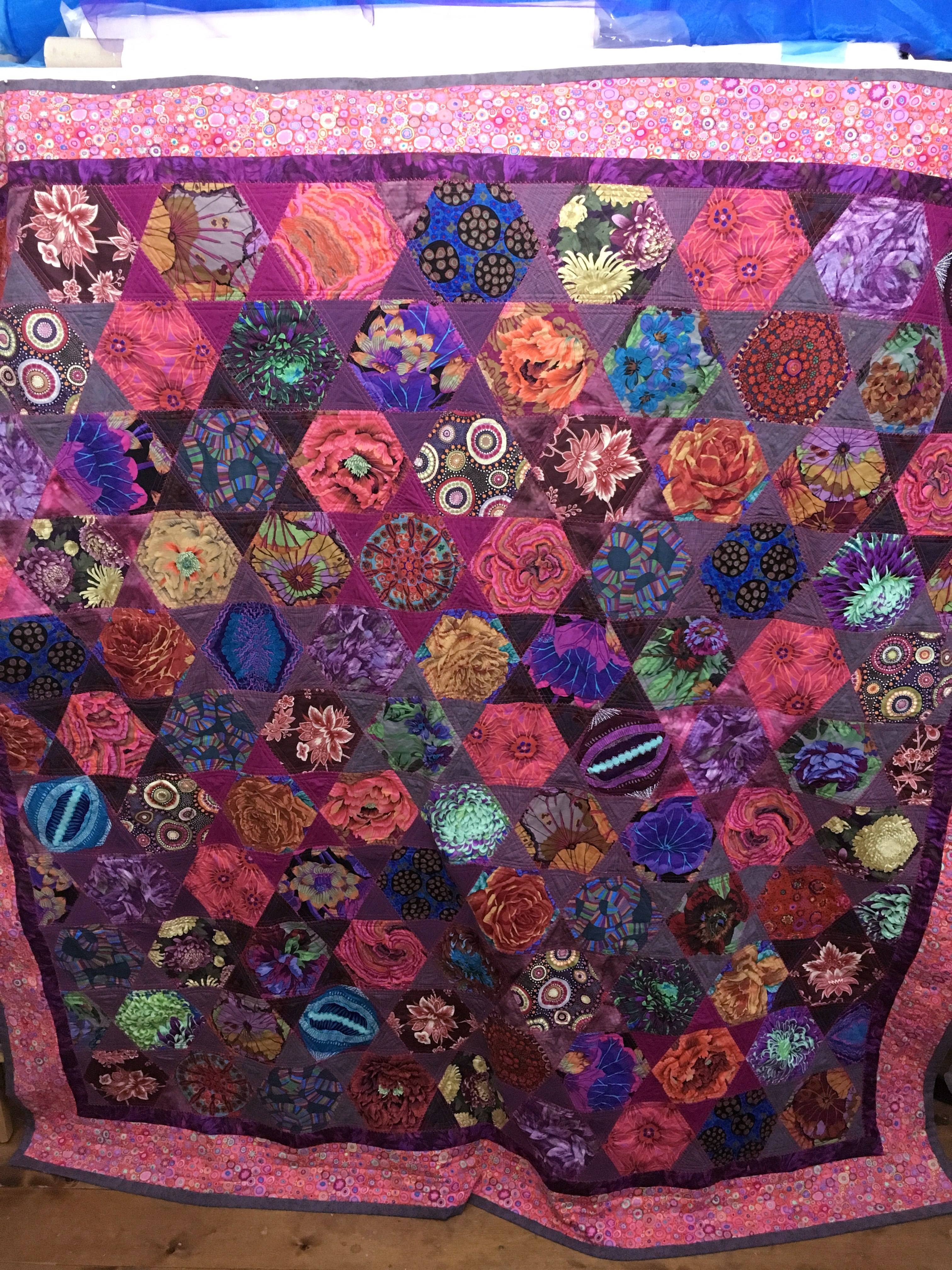completed Kaffe fassett quilt by Gill Roberts