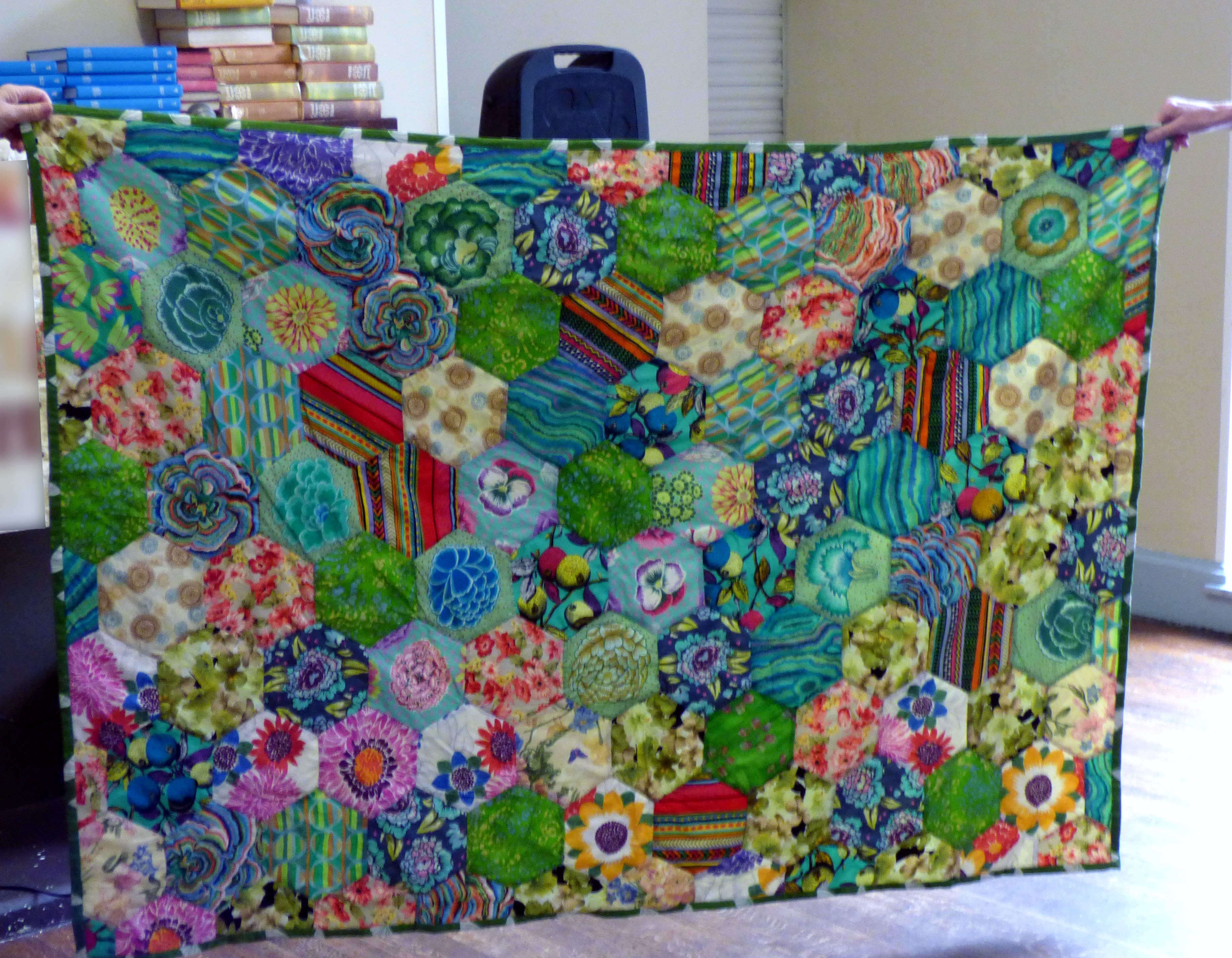 Quilt, inspired by Kaffe Fassett and made by Vicky Williams with help from Hilary McCormack & David Peglar, 2018