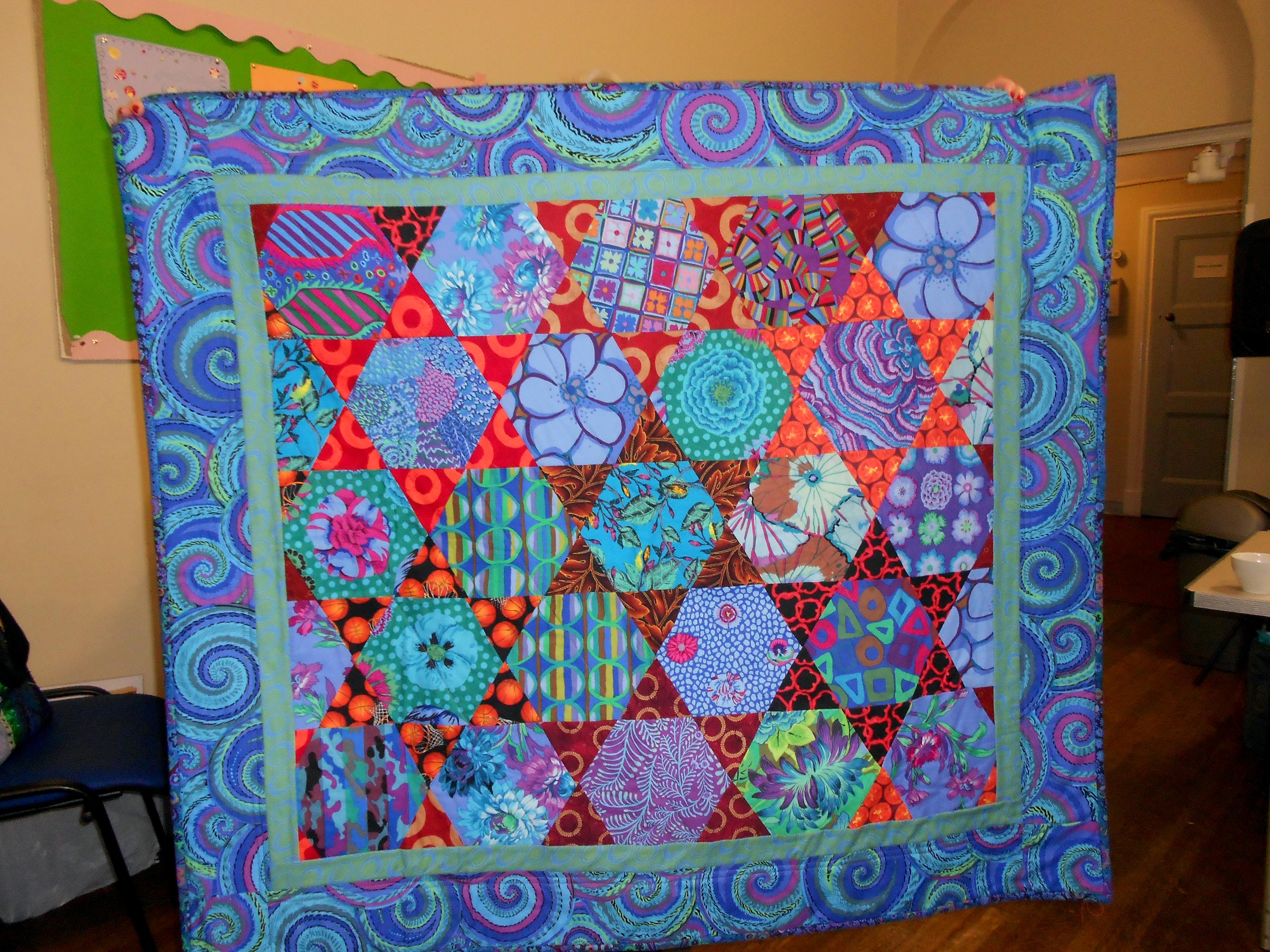 completed Kaffe Fassett quilt by Alice Bradley