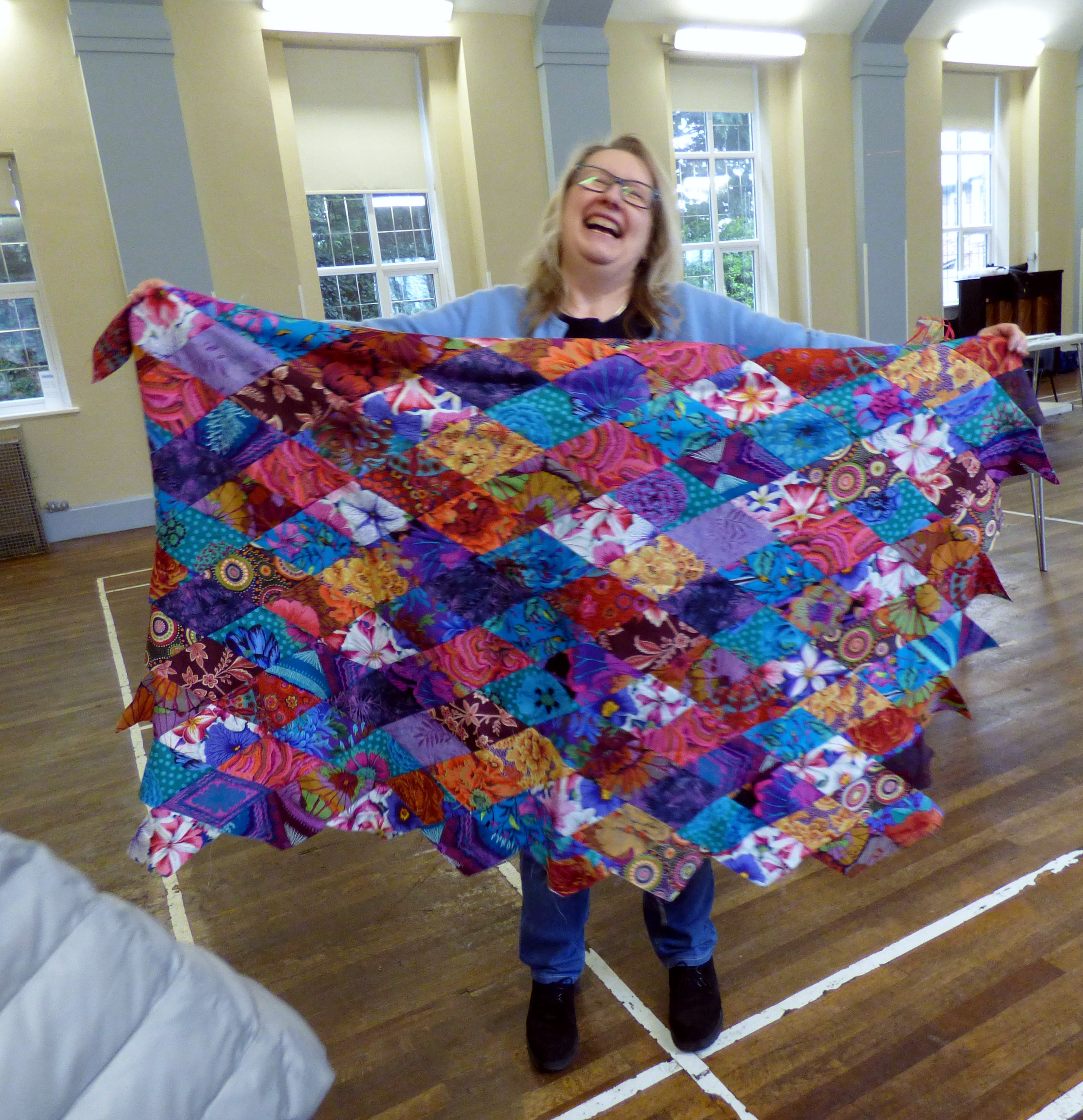 quilt top by Gill Roberts. This was made from off cuts from Kaffe Fassett workshop