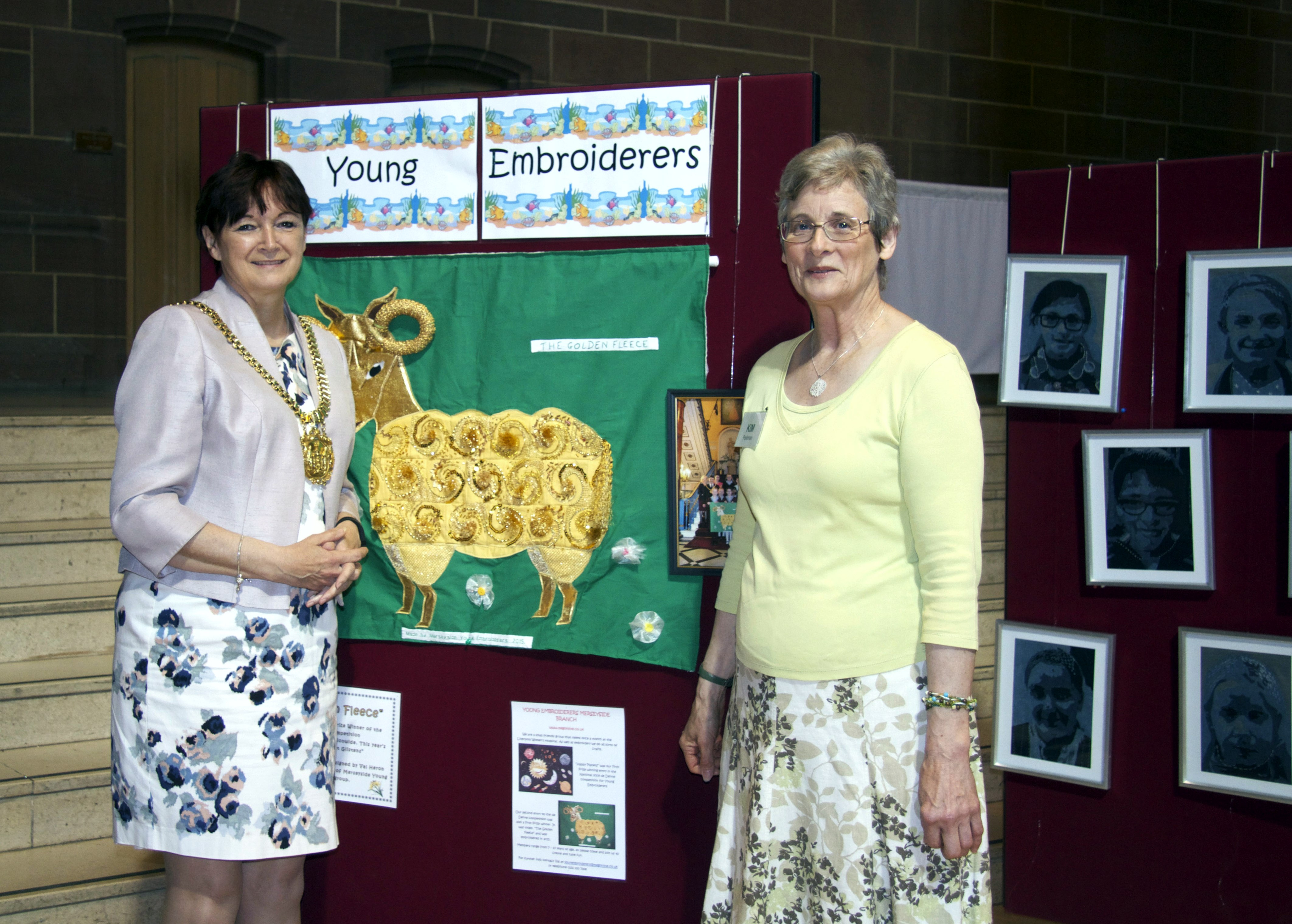 Lord Mayor of Liverpool Cllr Roz Gladden and MEG Chair Kim Parkman at 60 Glorious years exhibition, Liverpool Cathedral 2016