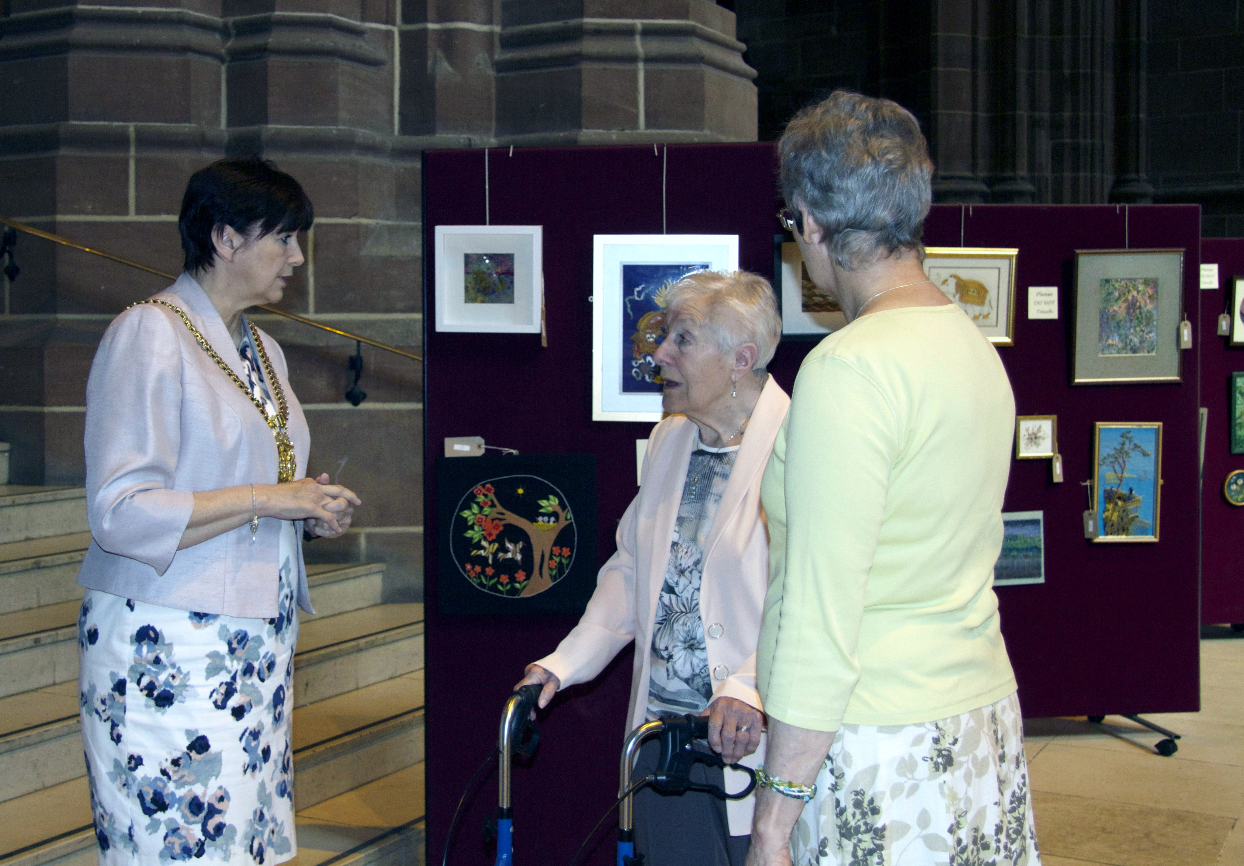 Lord Mayor of Liverpool Cllr Roz Gladden with Margaret gold and Kim Parkman at 60 Glorious Years exhibition, Liverpool Cathedral 2016