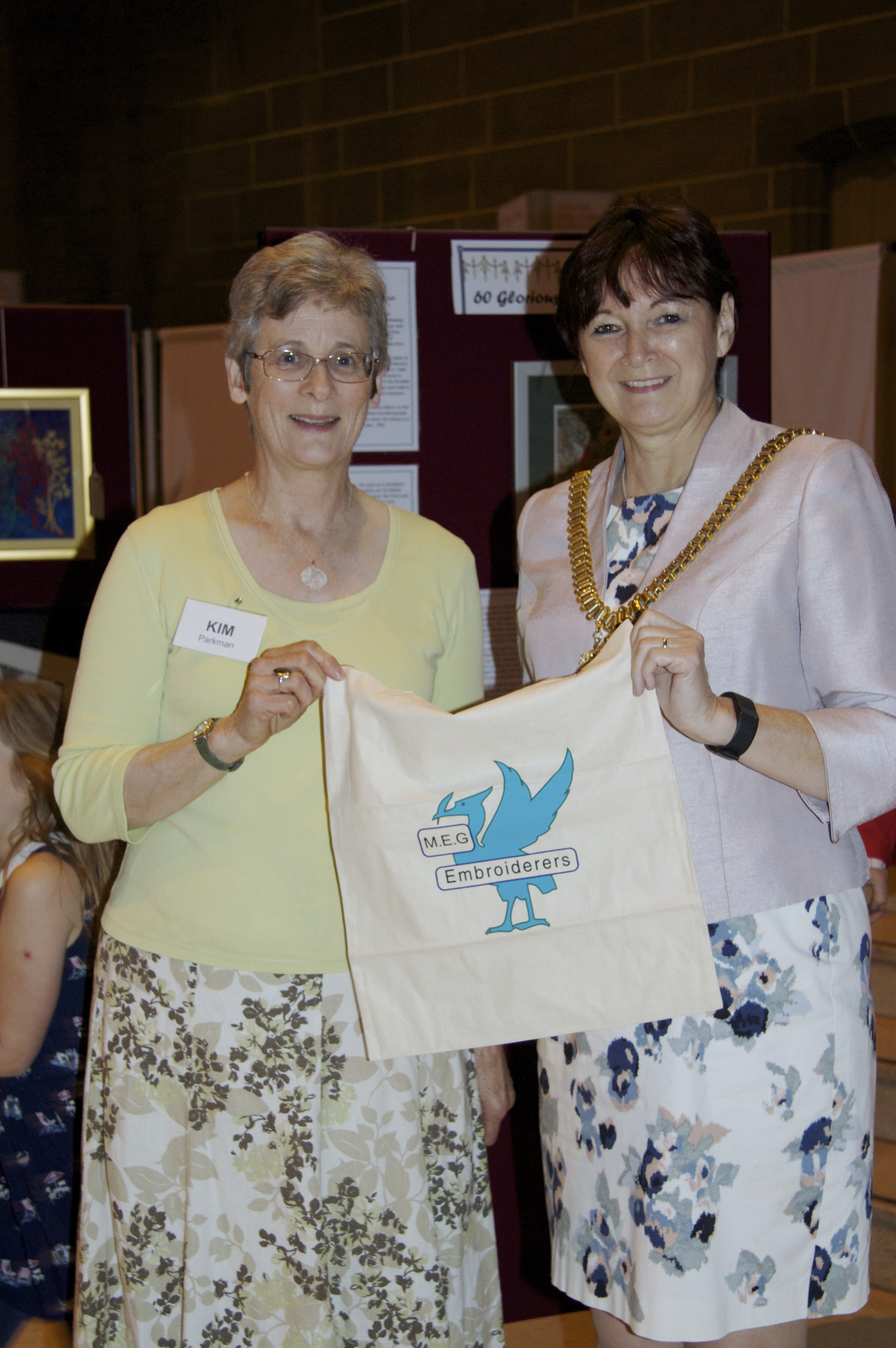 MEG Chair Kim Parkman and Liverpool Lord mayor Cllr Roz Gladden at 60 Golrious Years exhibition at Liverpool Cathedral 2016
