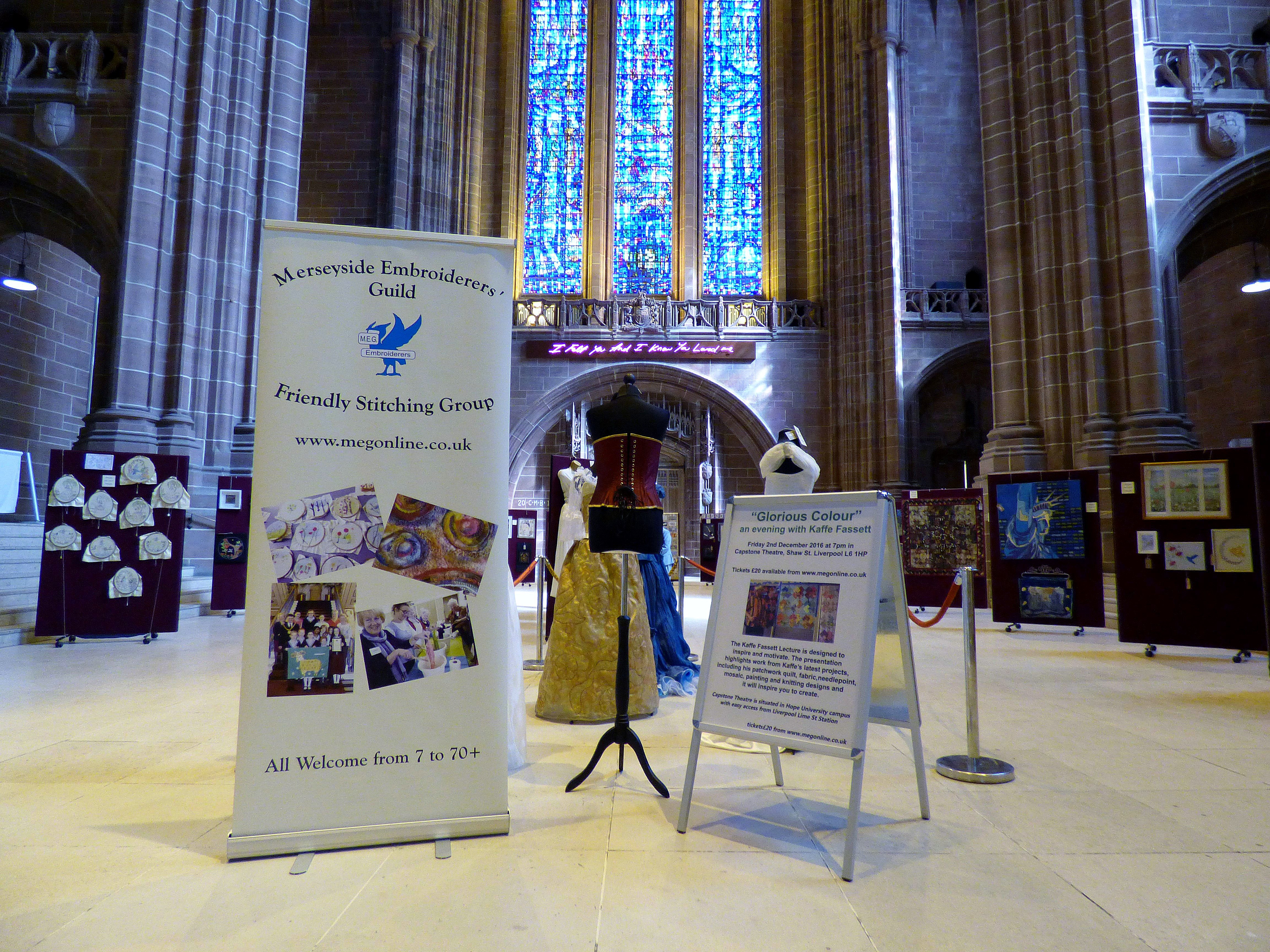 60 Glorious Years, MEG exhibition, Liverpool Cathedral 2016
