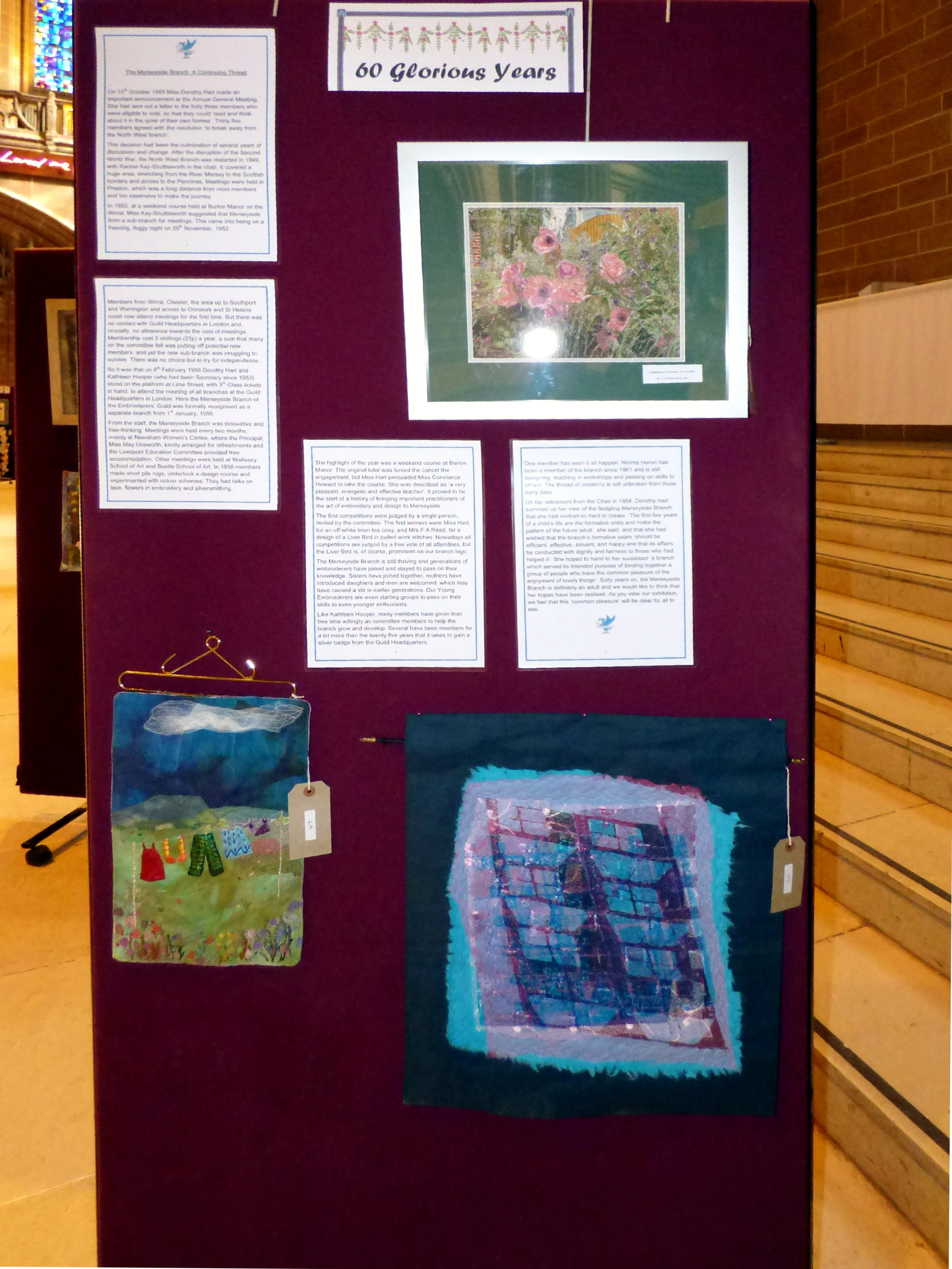 CELEBRATION OF A SUMMER GARDEN by Margaret Crichton, WASHING LINE by Mal Ralston and REFLECTIONS by Elsie Watkins at 60 Glorious Years exhibition 2016