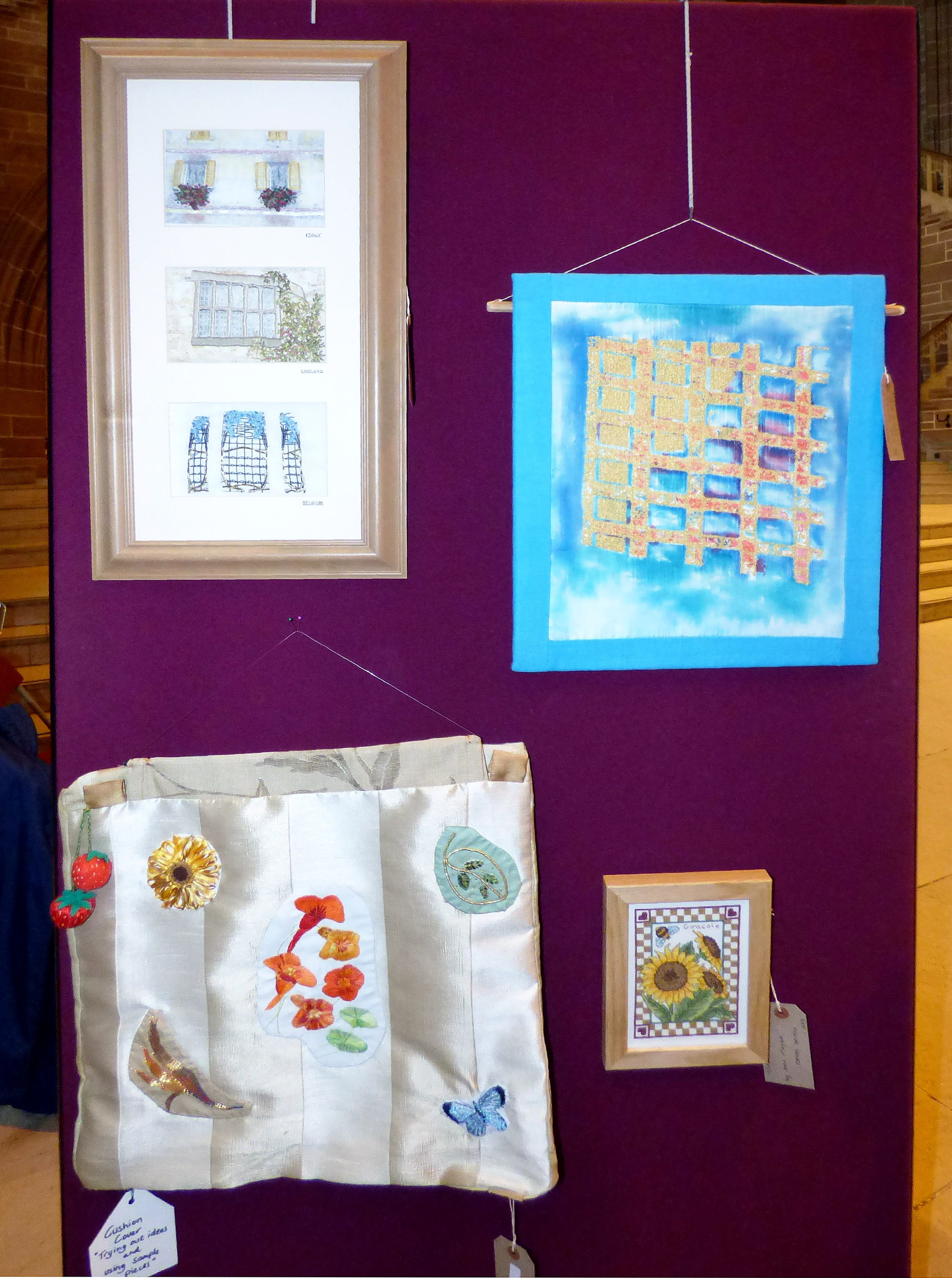 WINDOWS by Jean Mather, REFLECTIONS by Elsie Watkins, TRYING OUT IDEAS by Brenda Muller at 60 Glorious Years exhibition 2016