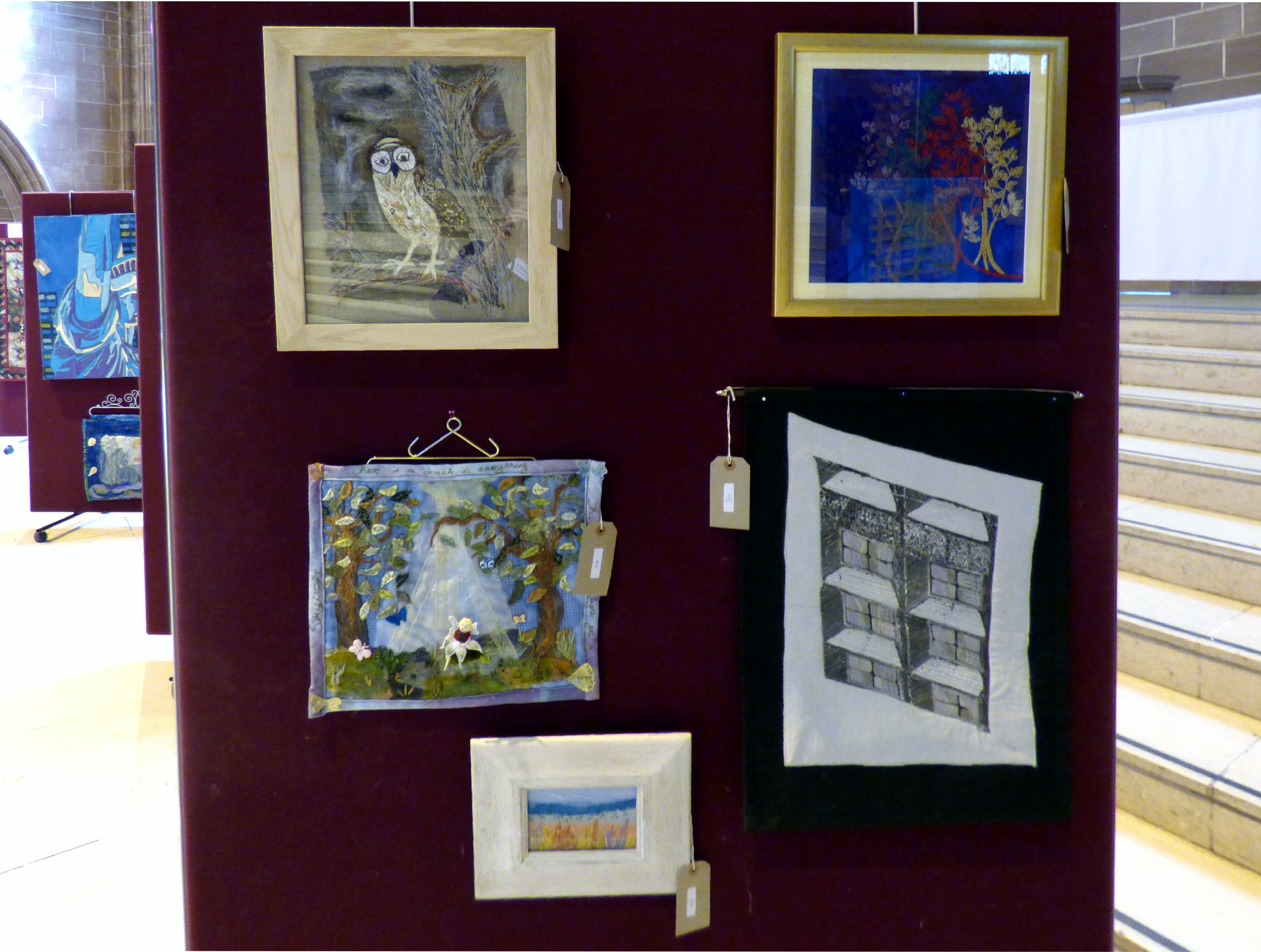 OWL FOR INDIRA by Marie Stacey, CAPABILITY BROWN by David Peglar, SKYLIGHT by Mal Ralston, COASTAL PATH by Jean Mather and Reflections by Elsie Watkins at 60 Glorious Years exhibition 2016