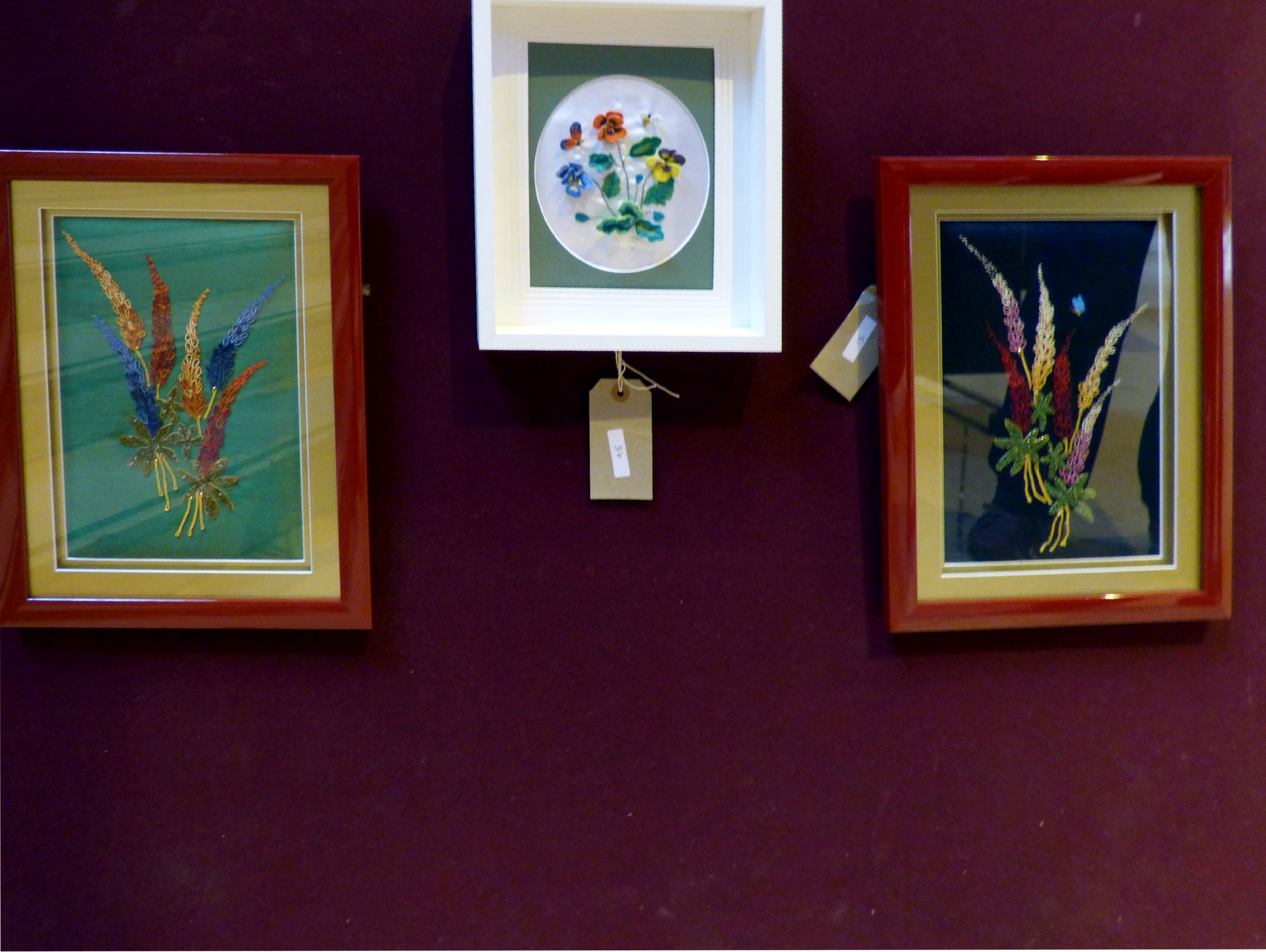 GREEN LUPINS by Vicky Williams, PANSIES by Kathy Green and BLUE LUPINS by Vicky Williams at 60 Glorious Years exhibition 2016