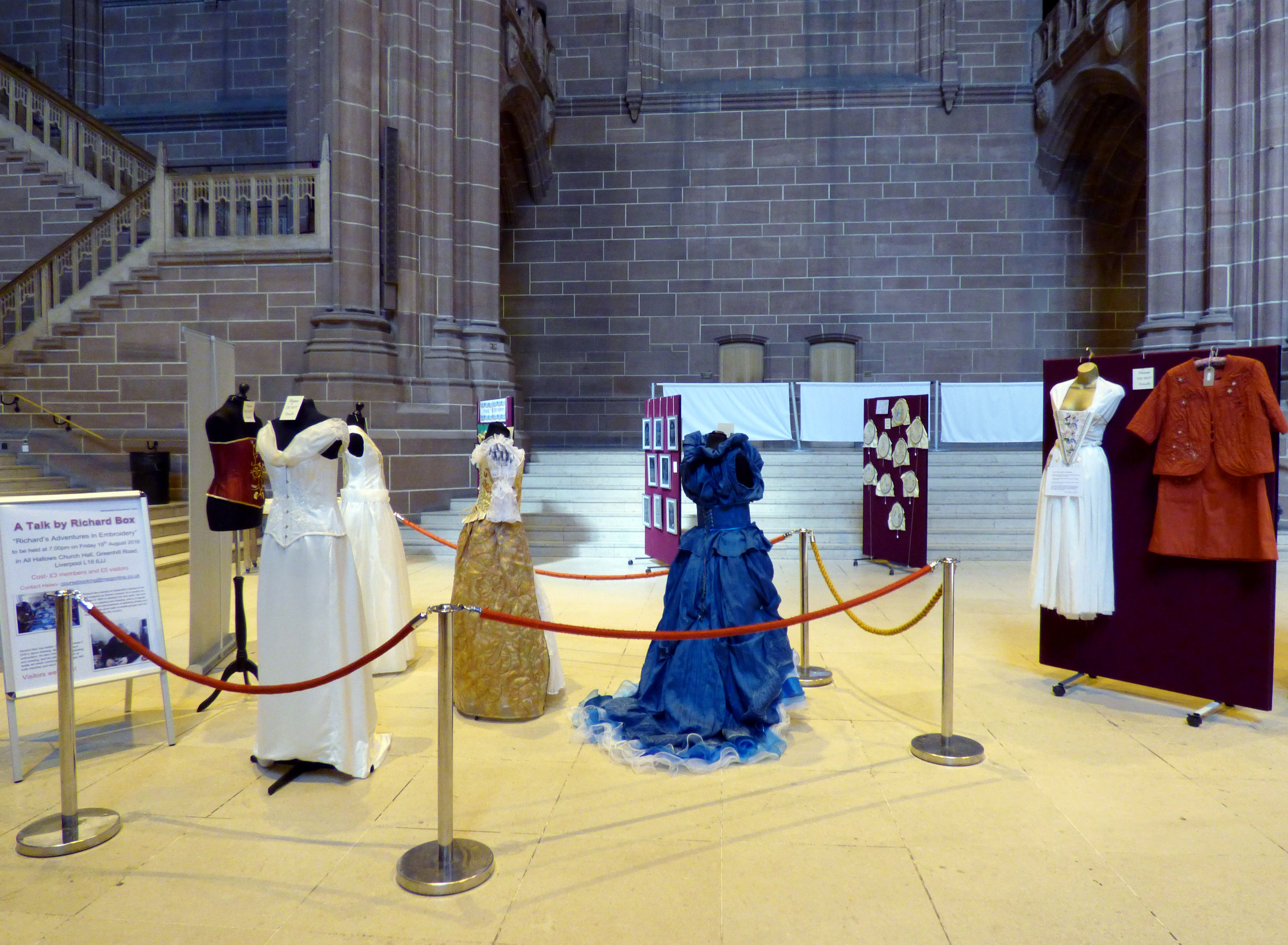 60 Glorious Years exhibition, Liverpol Anglican Cathedral 2016, dresses by Gill Roberts, Jean Critchley and Dora Carline