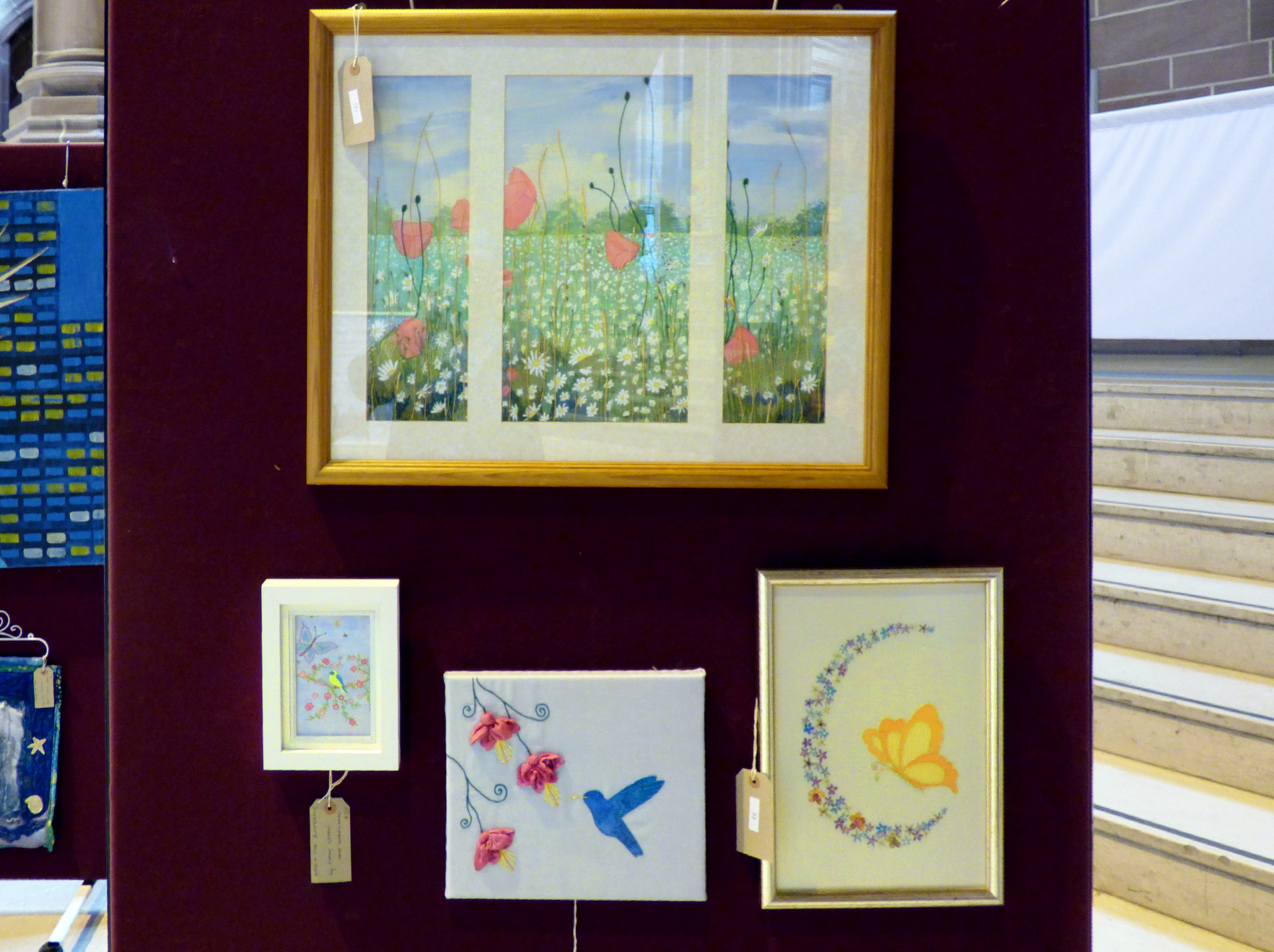 WILD POPPIES by Ruby Porter, BIRD AND THE BUTTERFLY by Kathy Green, HUMMING BIRD WITH FUSCHIAS and BUTTERFLY WITH FLOWERS by Ann Thyer