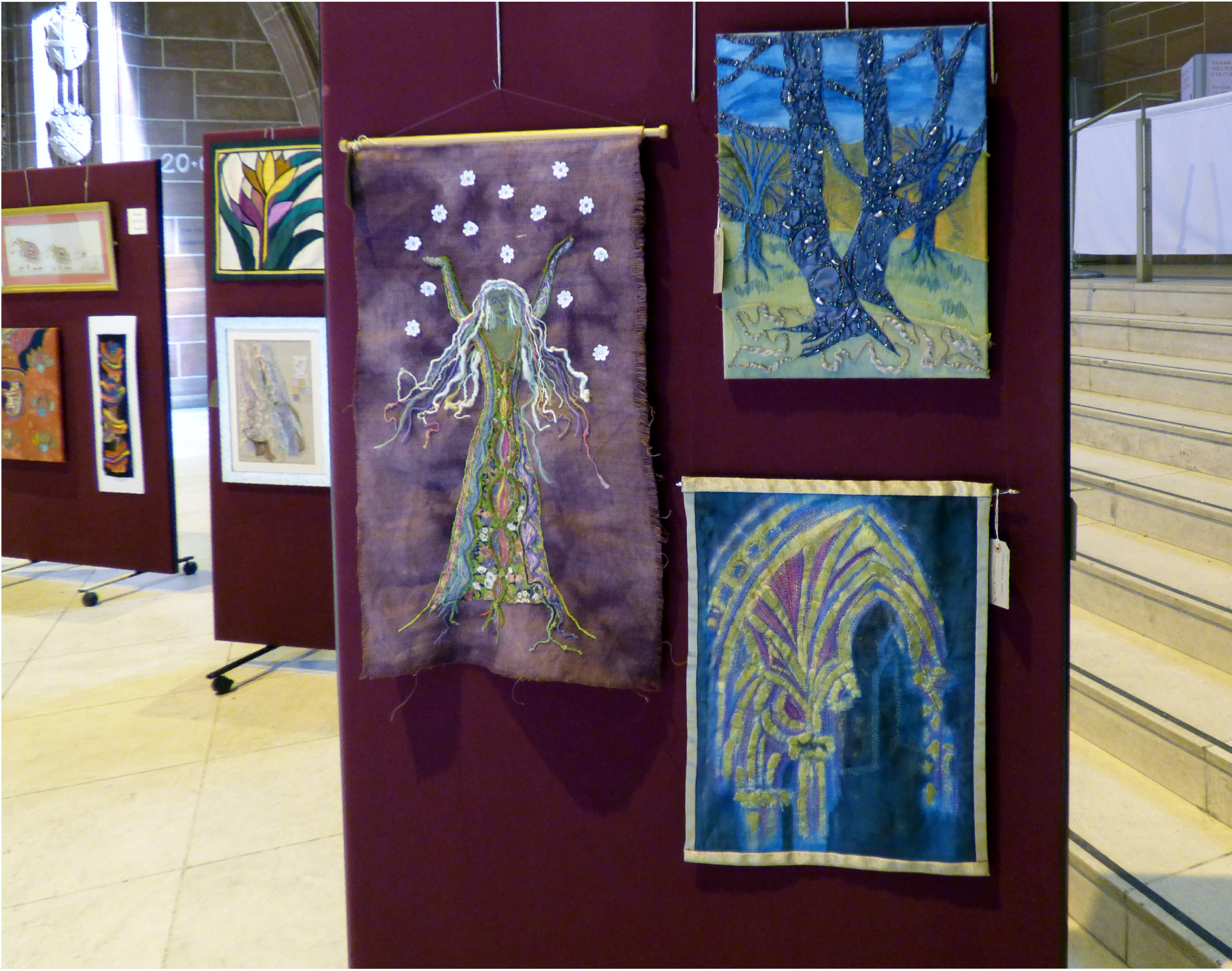 GODDESS OF GROWTH by Sarah Lowes, 60 YEARS IN THE MAKING by Val Heron and INSPIRATION by Elsie Watkins at 60 Glorious Years exhibition 2016