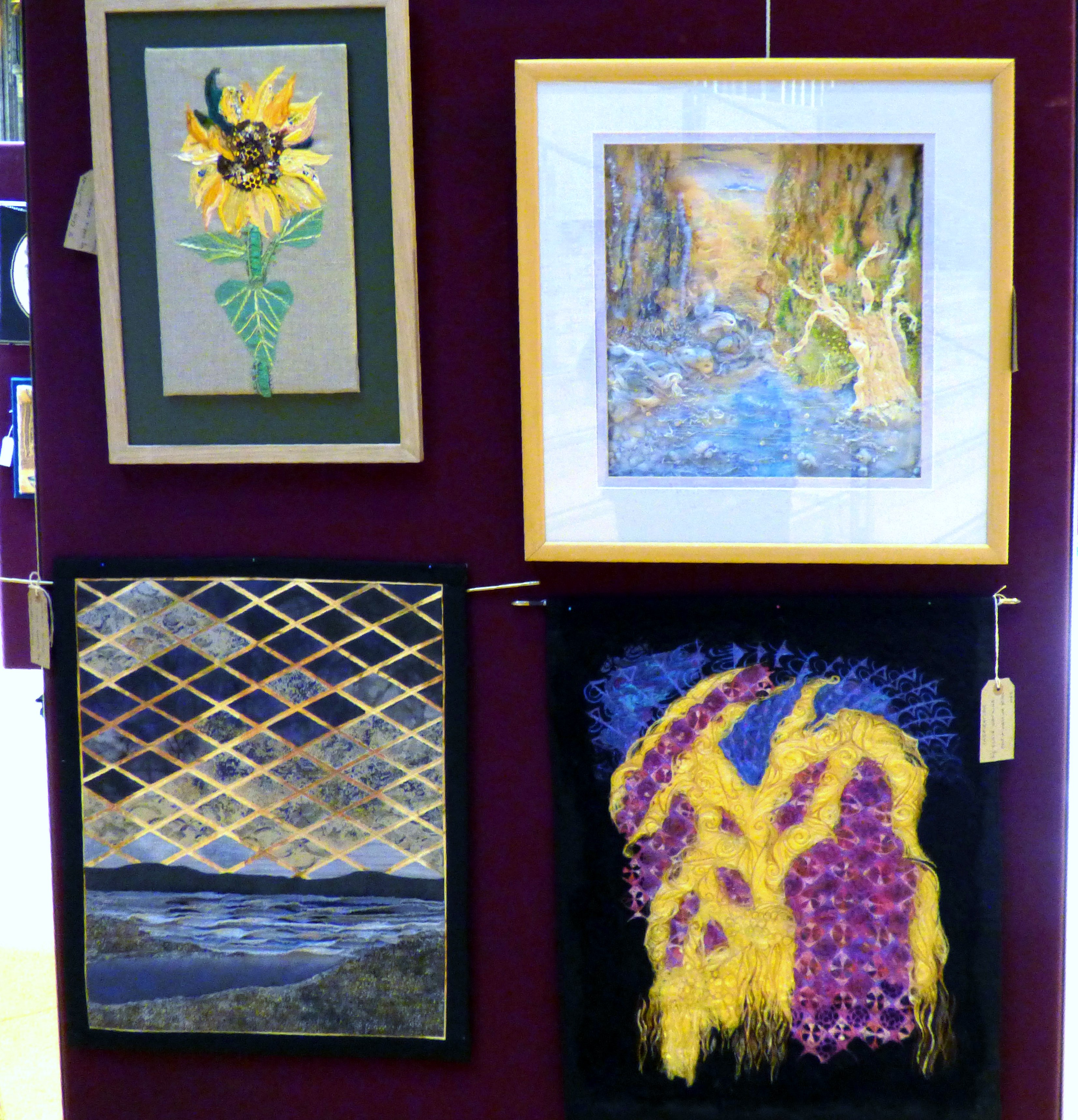 ST ERME SUNFLOWER by Marie Stacey, SAMARIA GORGE, CRETE by Linda Sowler, STORMY WEATHER by Barbara reece and INSPIRATION by Elsie Watkins at 60 Glorious Years exhibition 2016