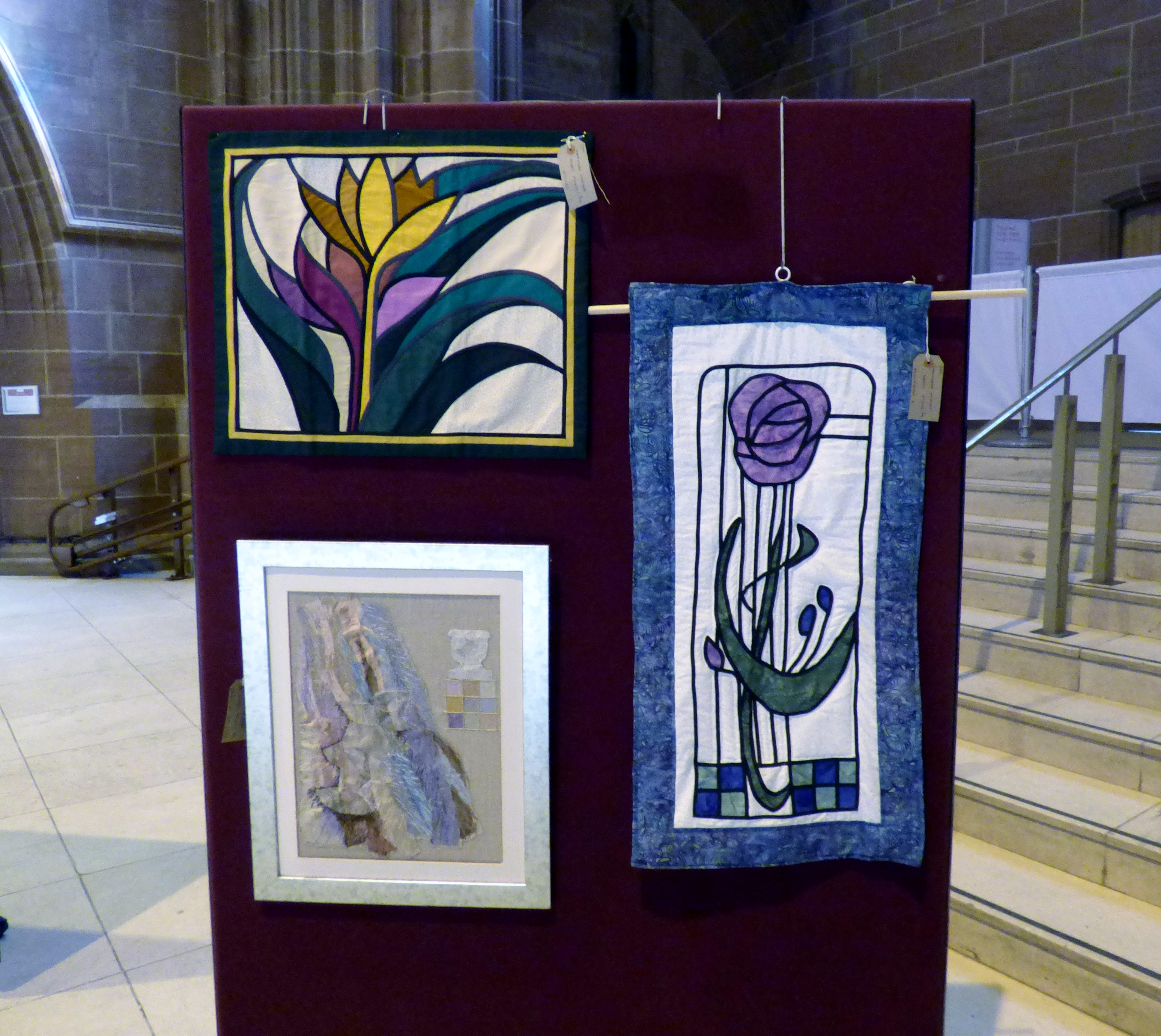 CROCUS by Norma Heron, A MACKINTOSH by Sheila Morris and FISH OUT OF WATER by Norma Heron at 60 Glorious Years exhibition 2016