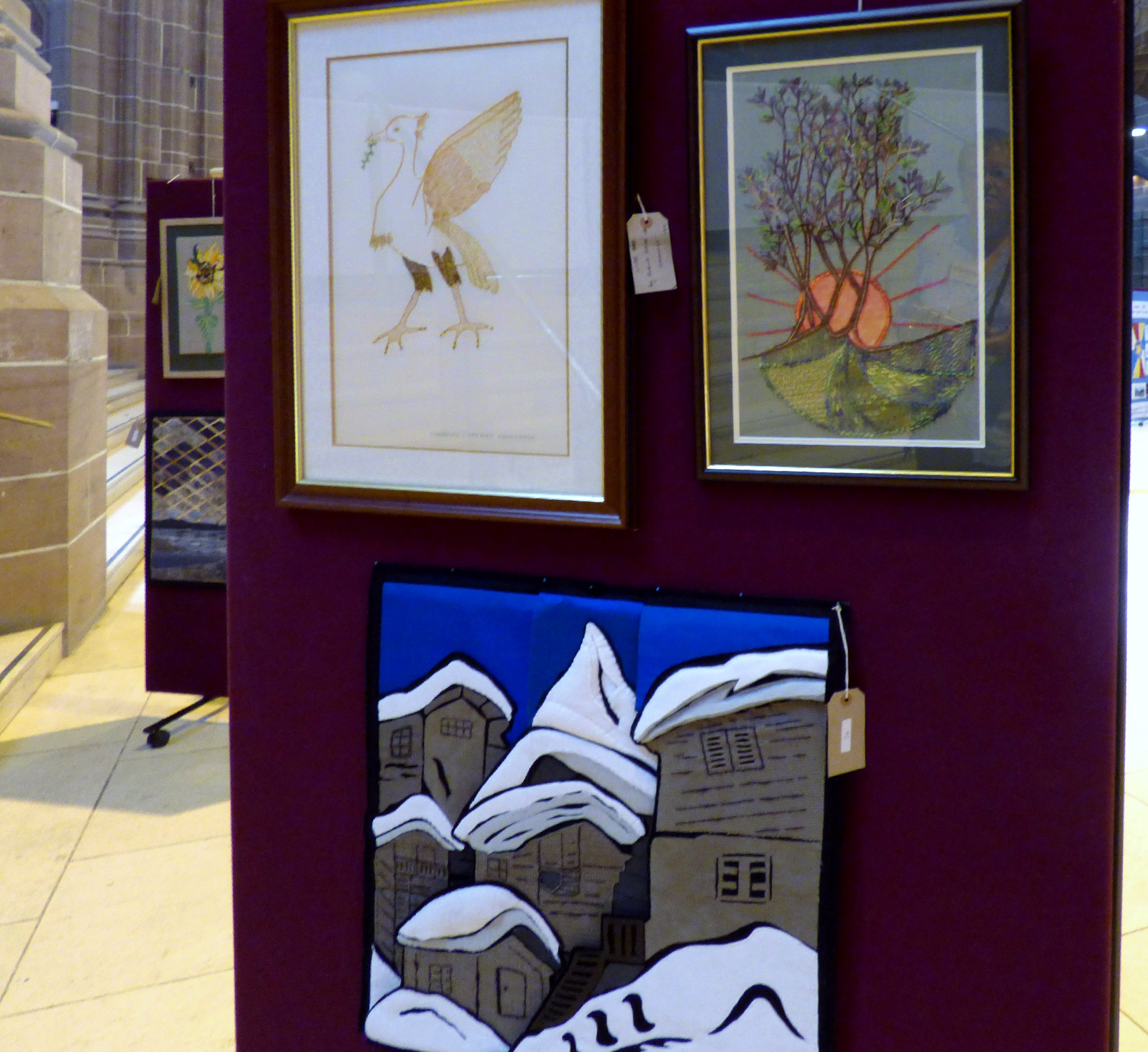 LIVER BIRD by Ruby Porter, CAPABILITY BROWN by David Peglar and SECHAUD'S CORNER by Barbara Reece at 60 Glorious Years exhibition 2016