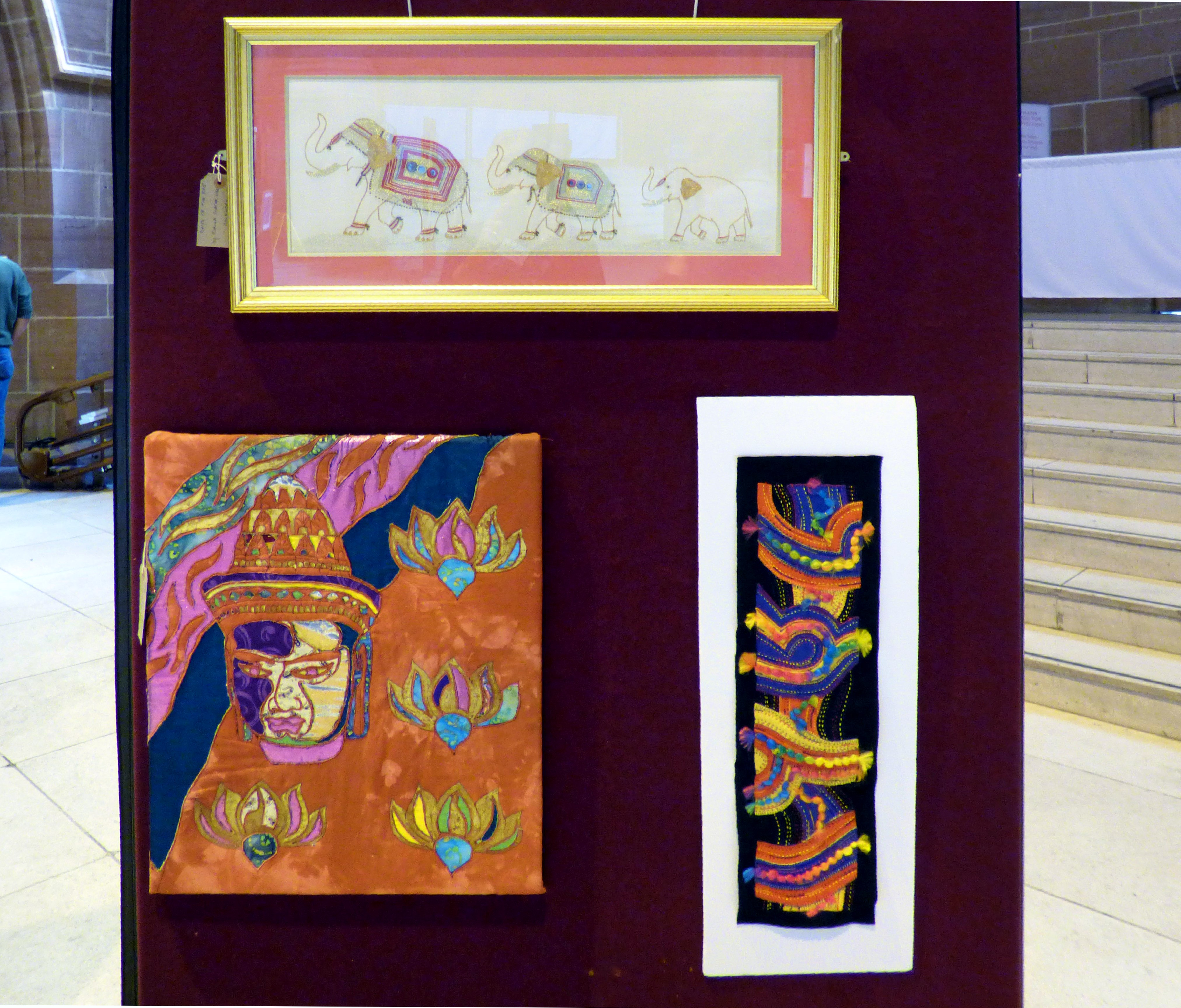 DAYS OF THE RAJ by Rubina Porter MBE, HEAD OF VISHNU by Hilary McCormack and DESIGN FOR A BANNER by Elsie Watkins at 60 Glorious Years exhibition 2016