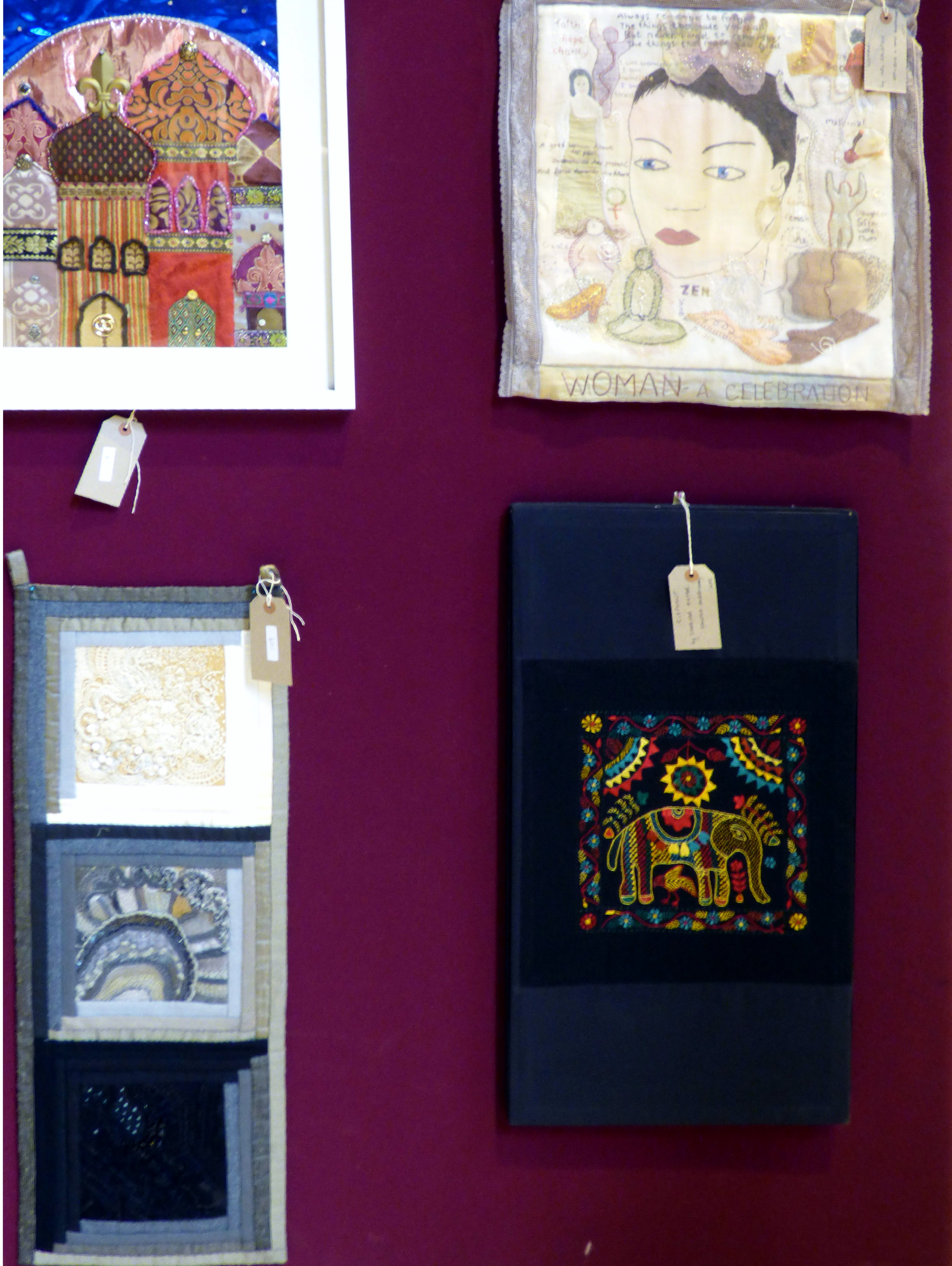 DOMES by Olive Halsall, WOMAN by Mal Ralston. WALL HANGING by Norma Heron and ELEPHANT by Shabiter Akter at 60 Glorious Years exhibition 2016