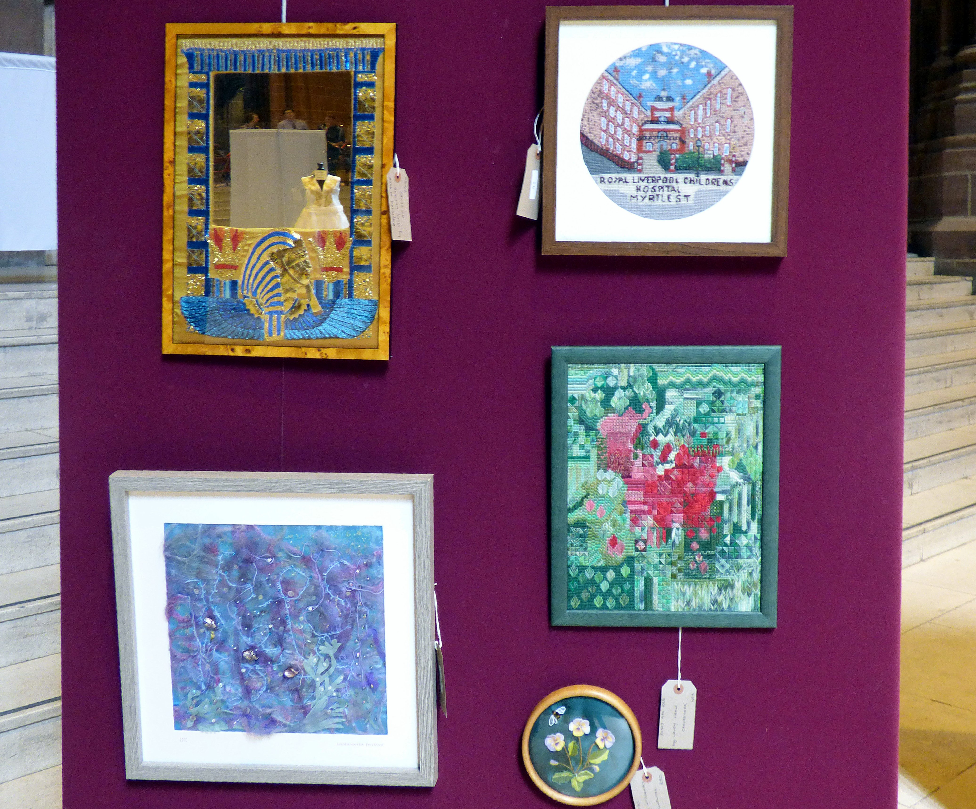 EGYPTIAN MIRROR by Vicky Williams, THE OLD ROYAL CHILDREN'S HOSPITAL by Kathy Green, ROSES ARE RED by Wendy Neale, UNDERWATER FANTASY by Jean Mather and PANSIES by Hilary McCormack at 60 Glorious Years exhibition 2016