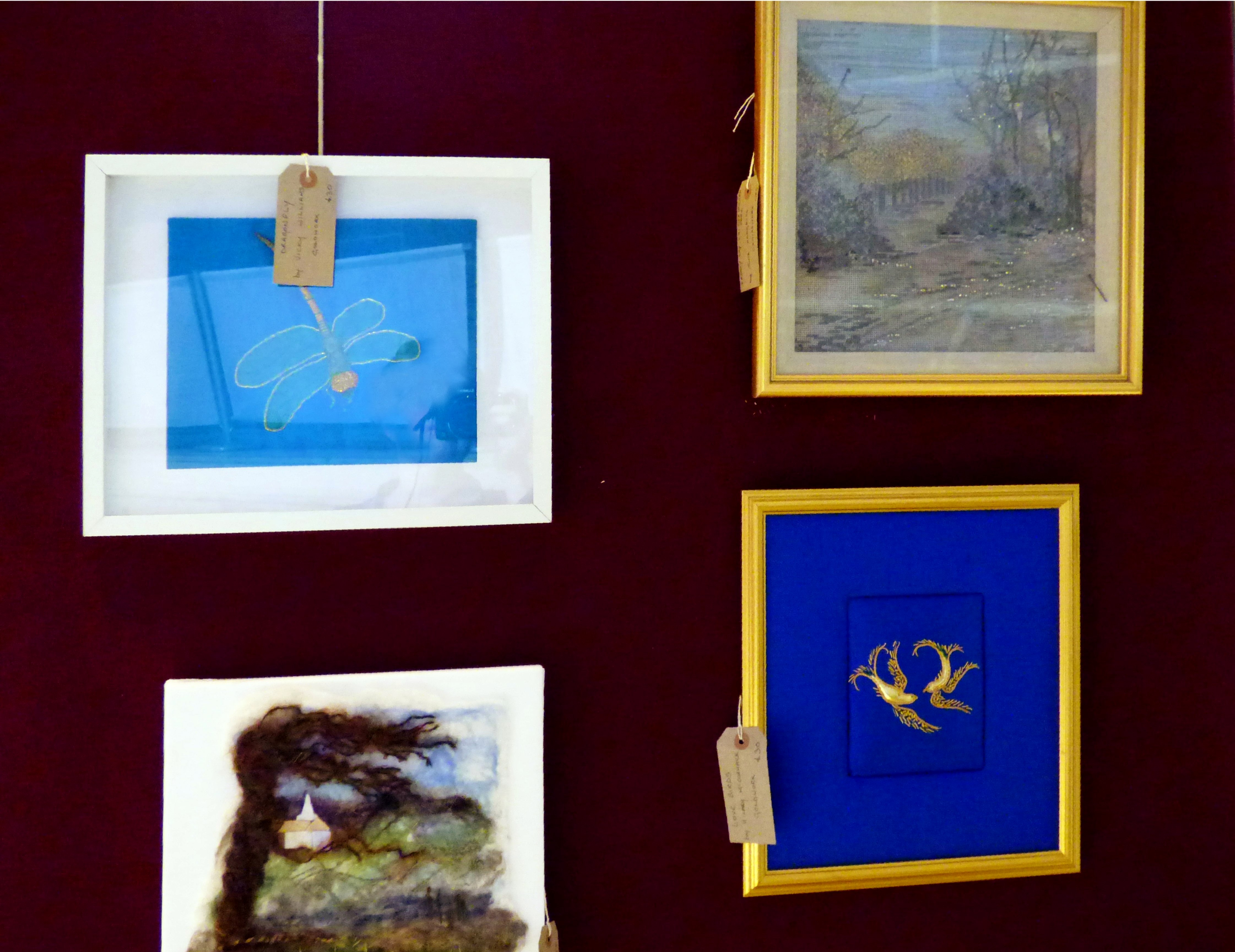 DRAGONFLY by Vicky Williams, FROSTY DAY, CALDERSTONES PARK by June Hodgkiss, TOWARDS THE FELLS by Isobel HOGG and THE LOVE BIRDS by Hilary McCormack at 60 Glorious Years exhibition 2016