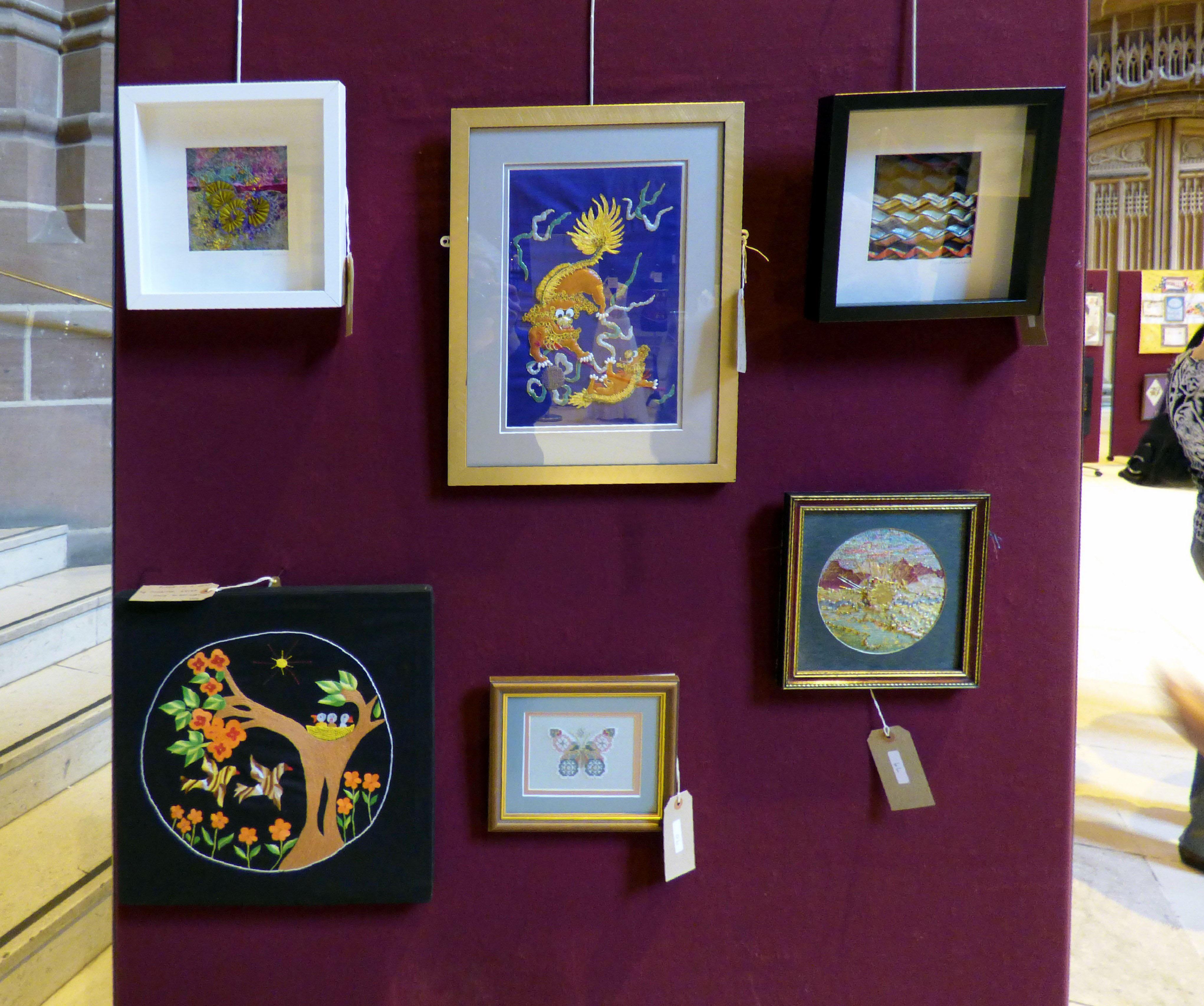 MY GARDEN by Nawal Gebreel, HAPPINESS by Vicky Williams, LANDSCAPE by Nawal Gebreel, BIRDS IN A NEST by Sabiter Akter, BUTTERFLY 1 by Ann Thyer, LET THERE BE LIGHT by June Hodgkiss at 60 Glorious years exhibition 2016