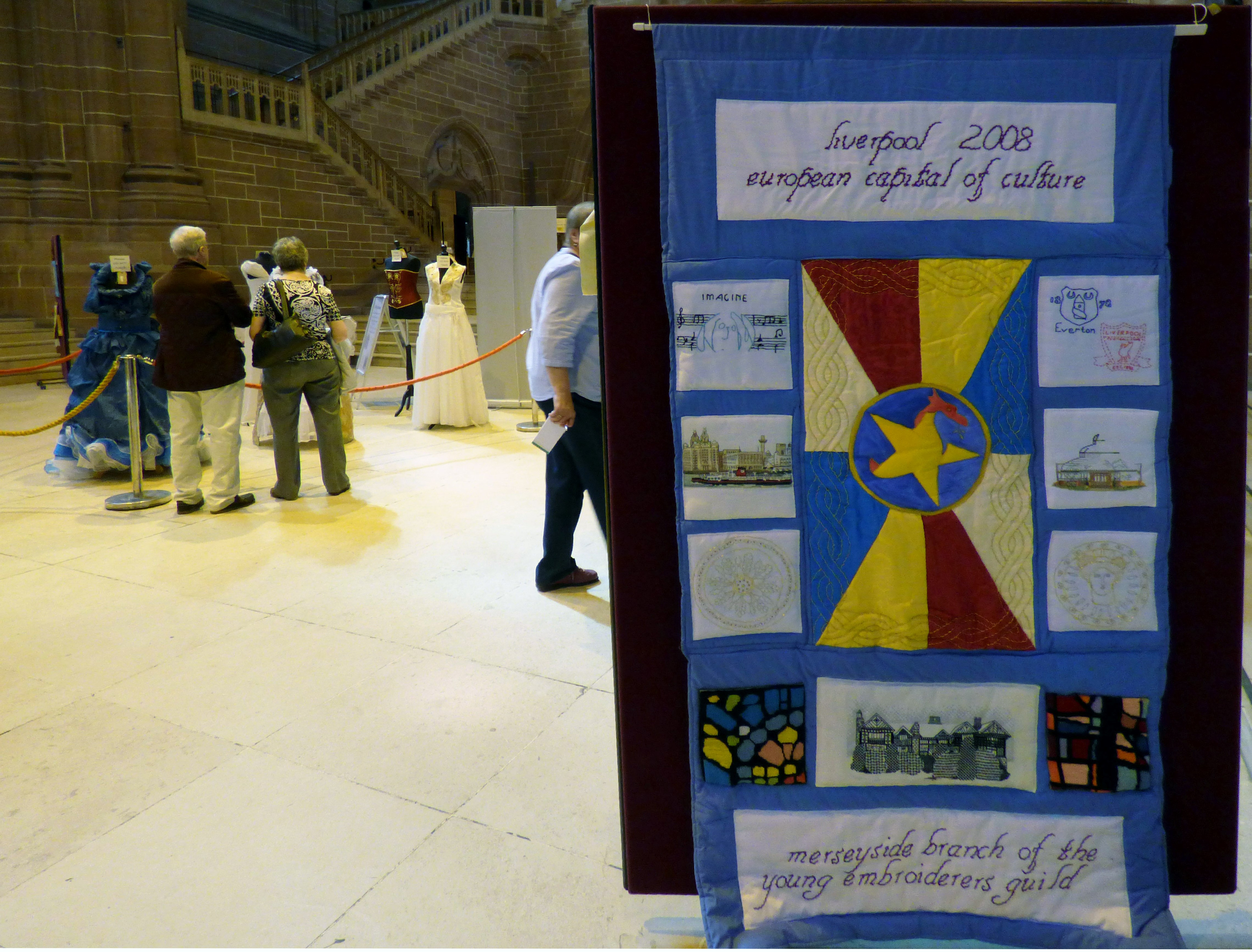 Merseyside Young Embroiderers 2008 banner at 60 Glorious Years exhibition, Liverpool Anglican Cathedral 2016