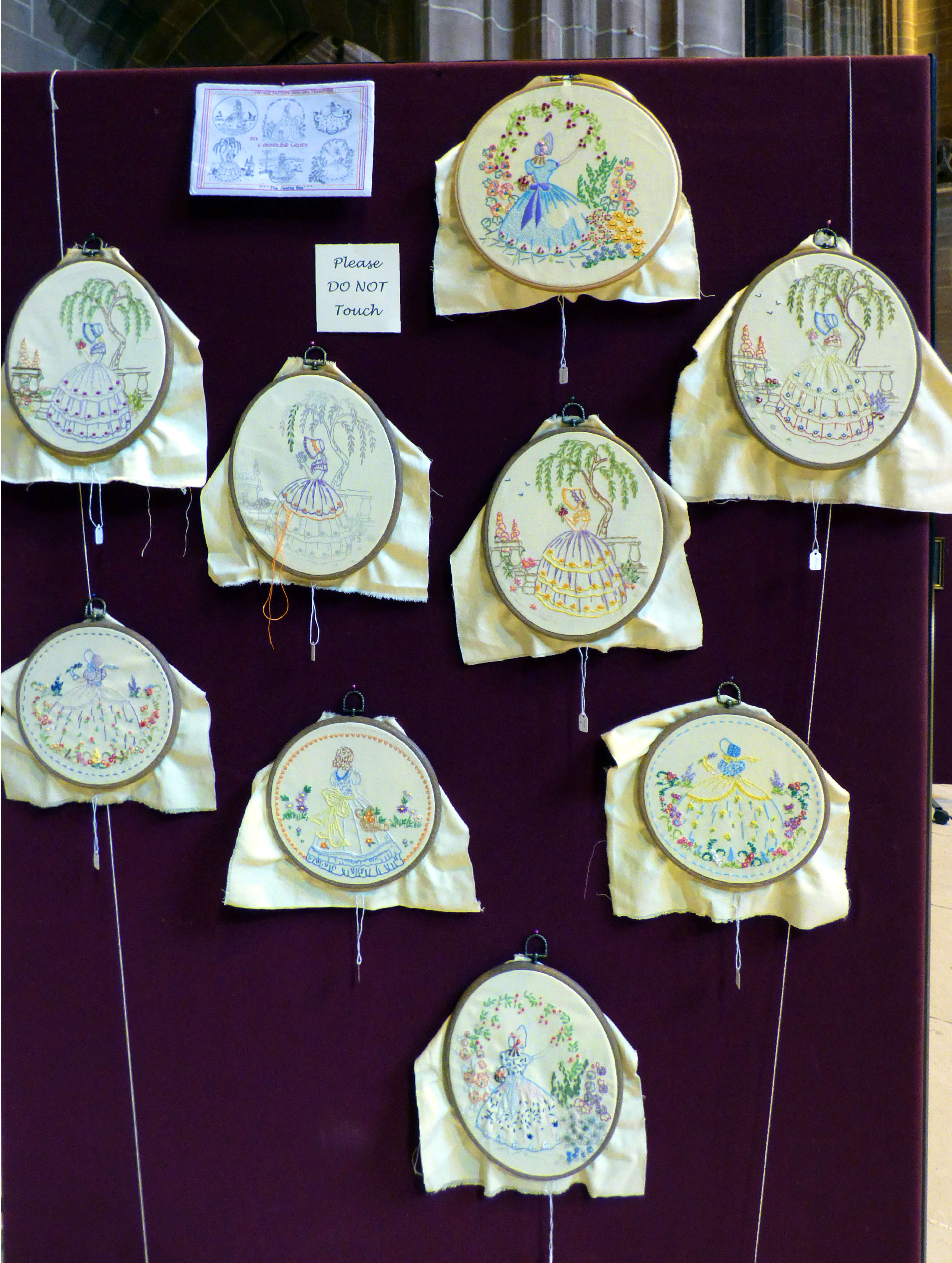 CRINOLINE LADIES by Merseyside Young Embroiderers at 60 Glorious Years exhibition, Liverpool Anglican Cathedral 2016