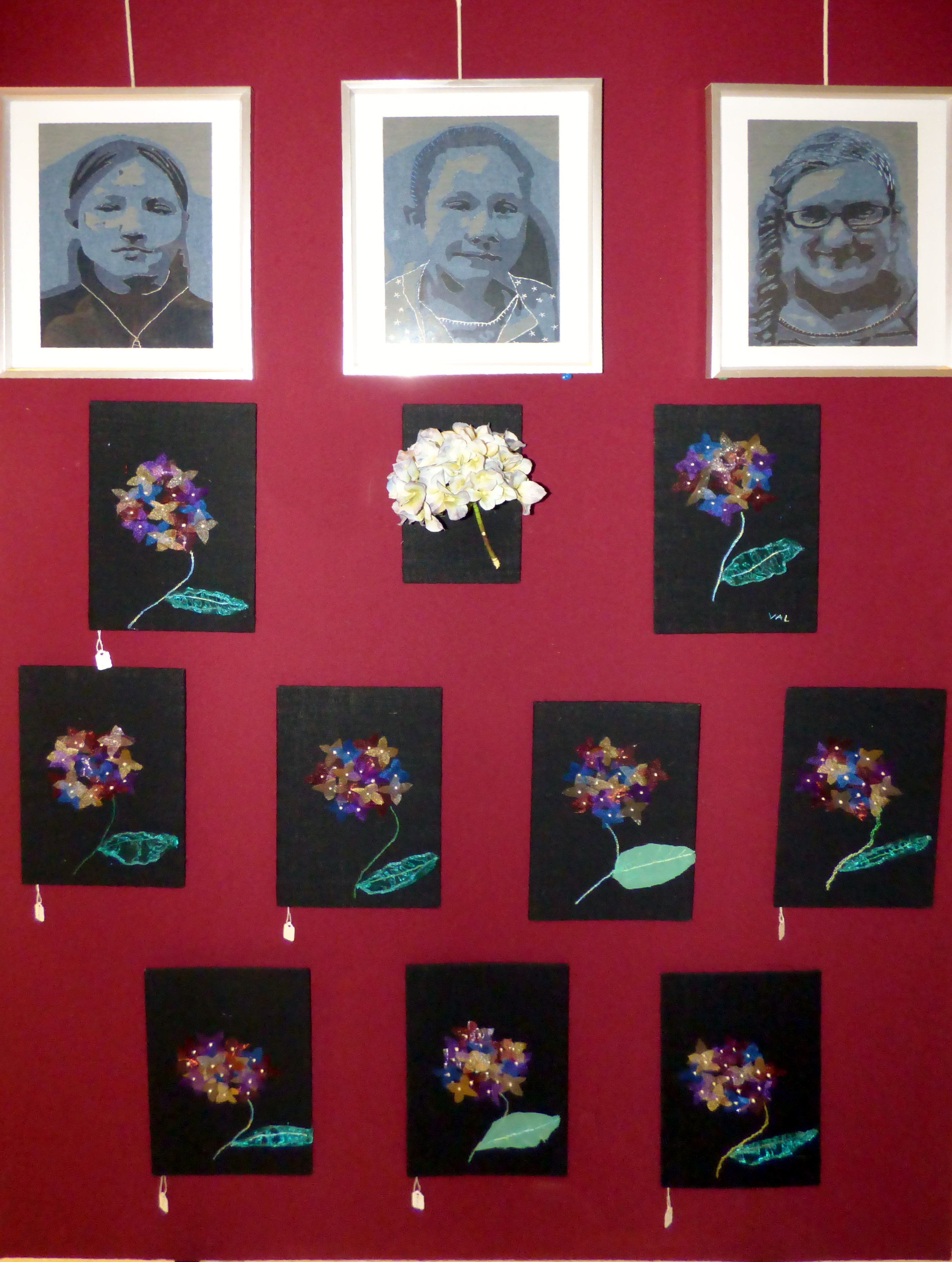 SELF PORTRAITS and HYDRANGEAS by Merseyside Young Embroiderers at 60 Glorious Years exhibition, Liverpool Anglican Cathedral 2016