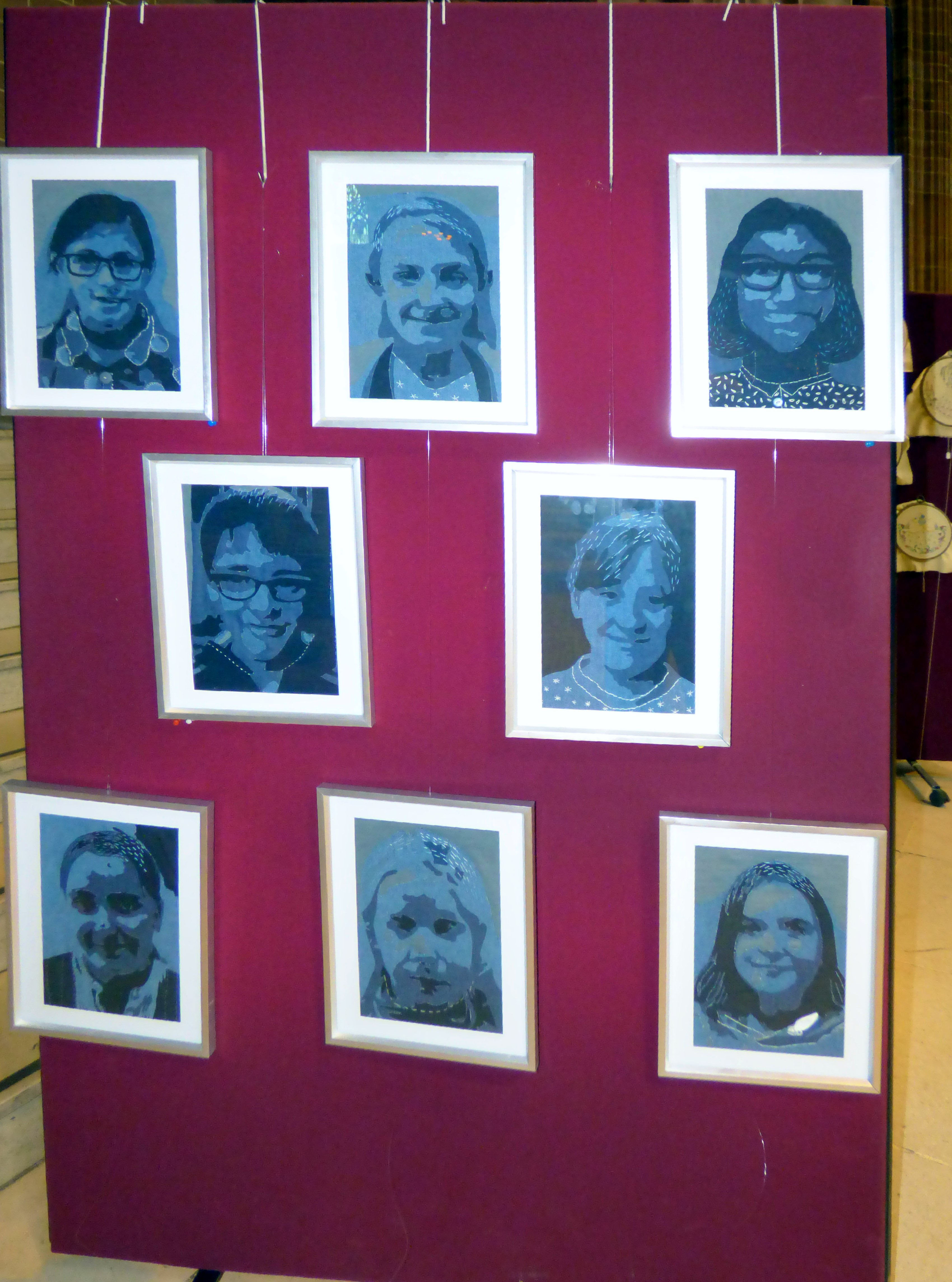 SELF PORTRAITS by Merseyside Young Embroiderers at 60 Glorious Years exhibition, Liverpool Anglican Cathedral 2016