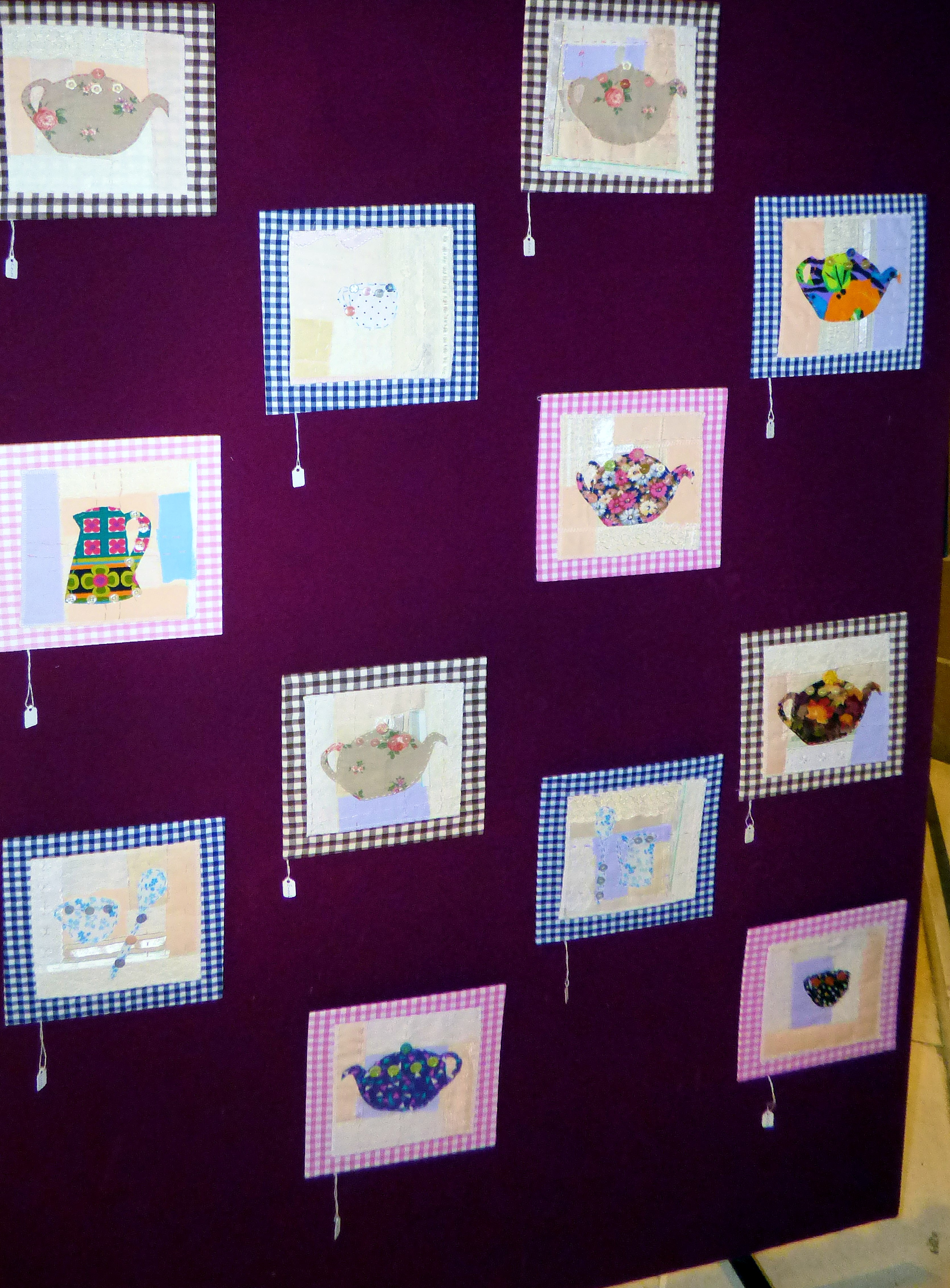 TEAPOTS, JUGS and CUPS by Merseyside Young Embroiderers at 60 Glorious Years exhibition, Liverpool Anglican Cathedral 2016