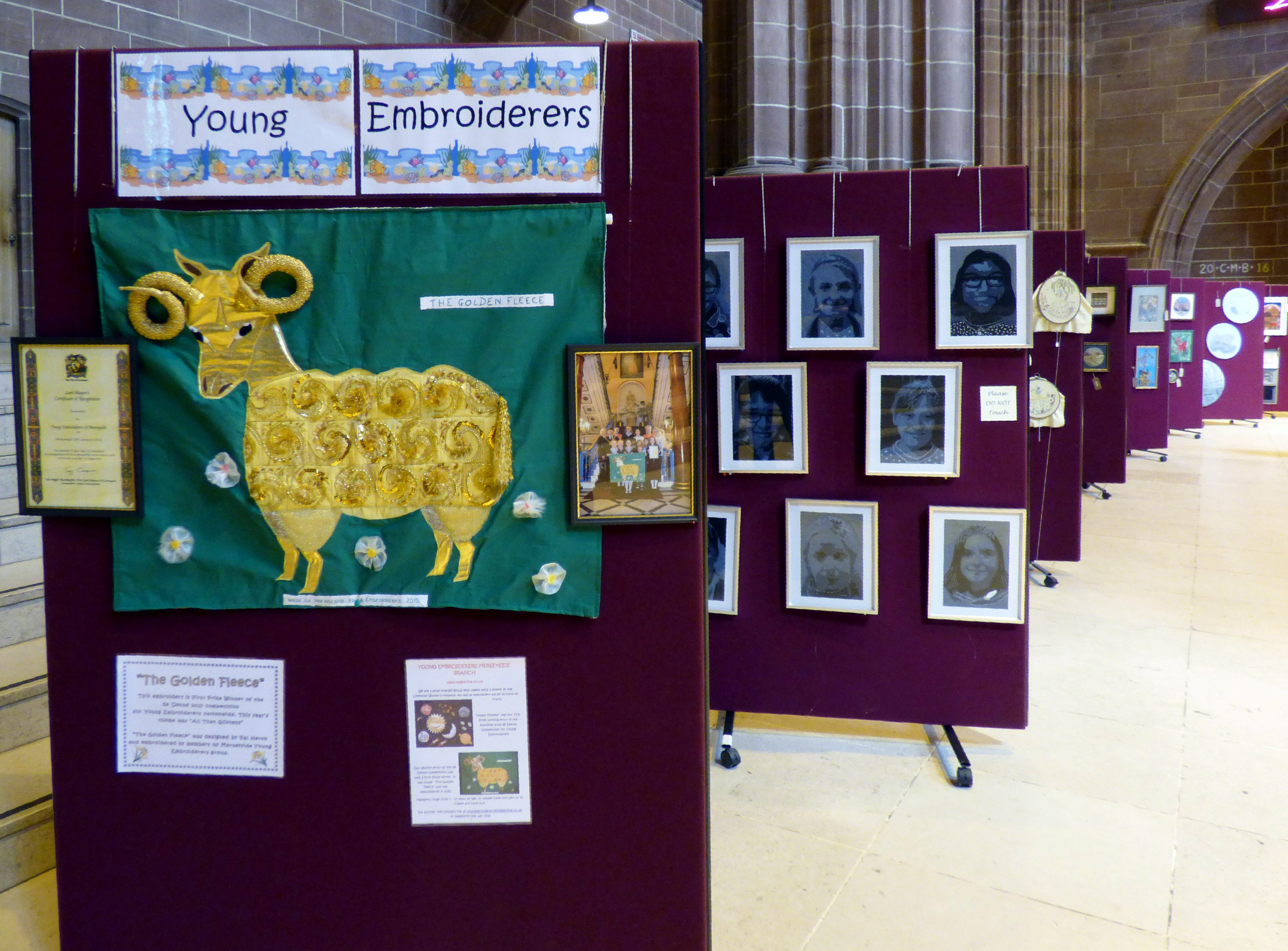 display of work by Merseyside Young Embroiderers at 60 Glorious Years exhibition, Liverpool Anglican Cathedral 2016