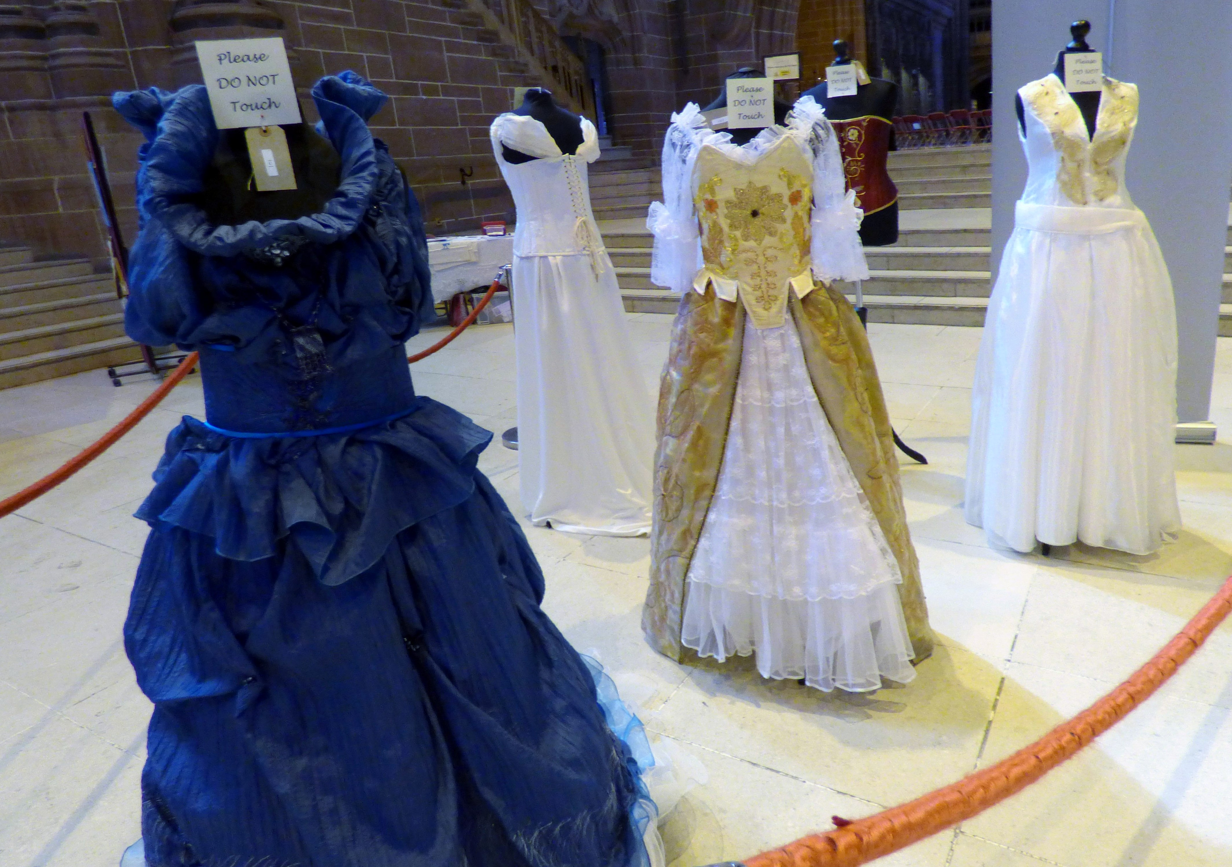 hand embroidererd dresses and corsetry by Gill Roberts at 60 Glorious Years exhibition, Liverpool Anglican Cathedral 2016