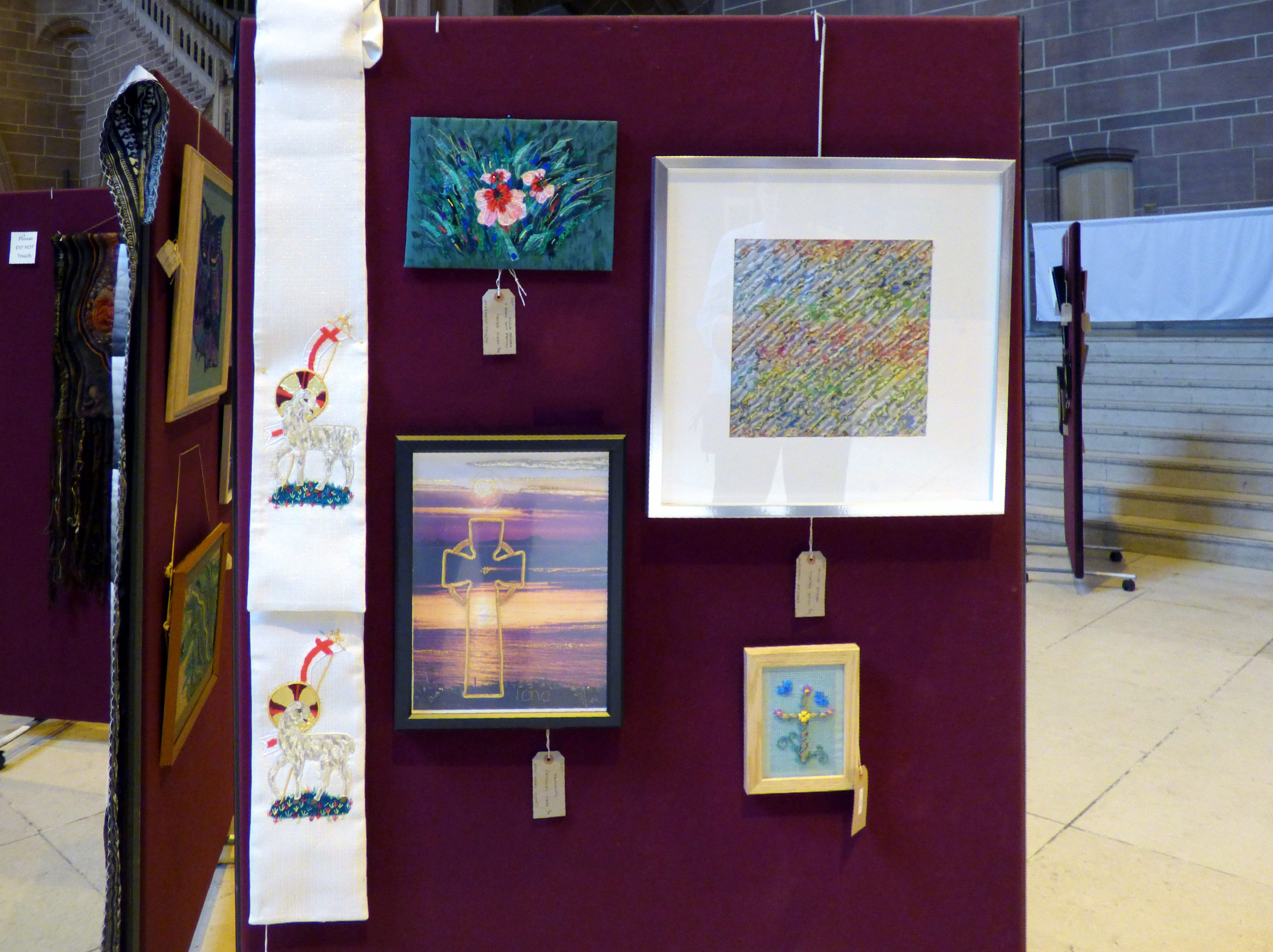POPPIES WORKSHOP by Marie Stacey, CHENILLE WORKSHOP by olive Halsall, EASTER STOLE by David Peglar, CELTIC CROSS IONA by Jean Critchley and CROSS by Ann Thyer at 60 Glorious Years exhibition 2016