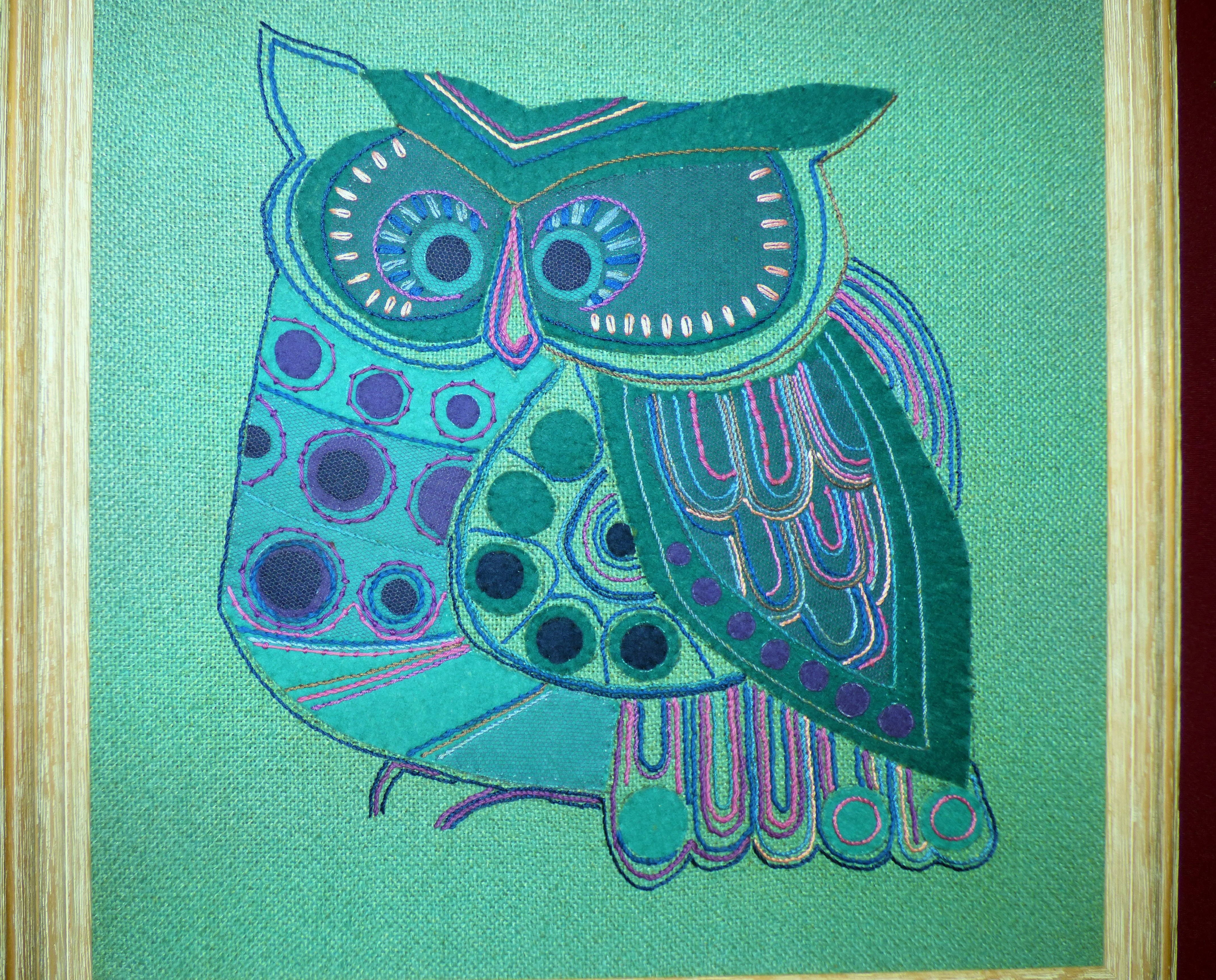 OWL(from a kit) by Margaret Gold at 60 Glorious Years exhibition 2016