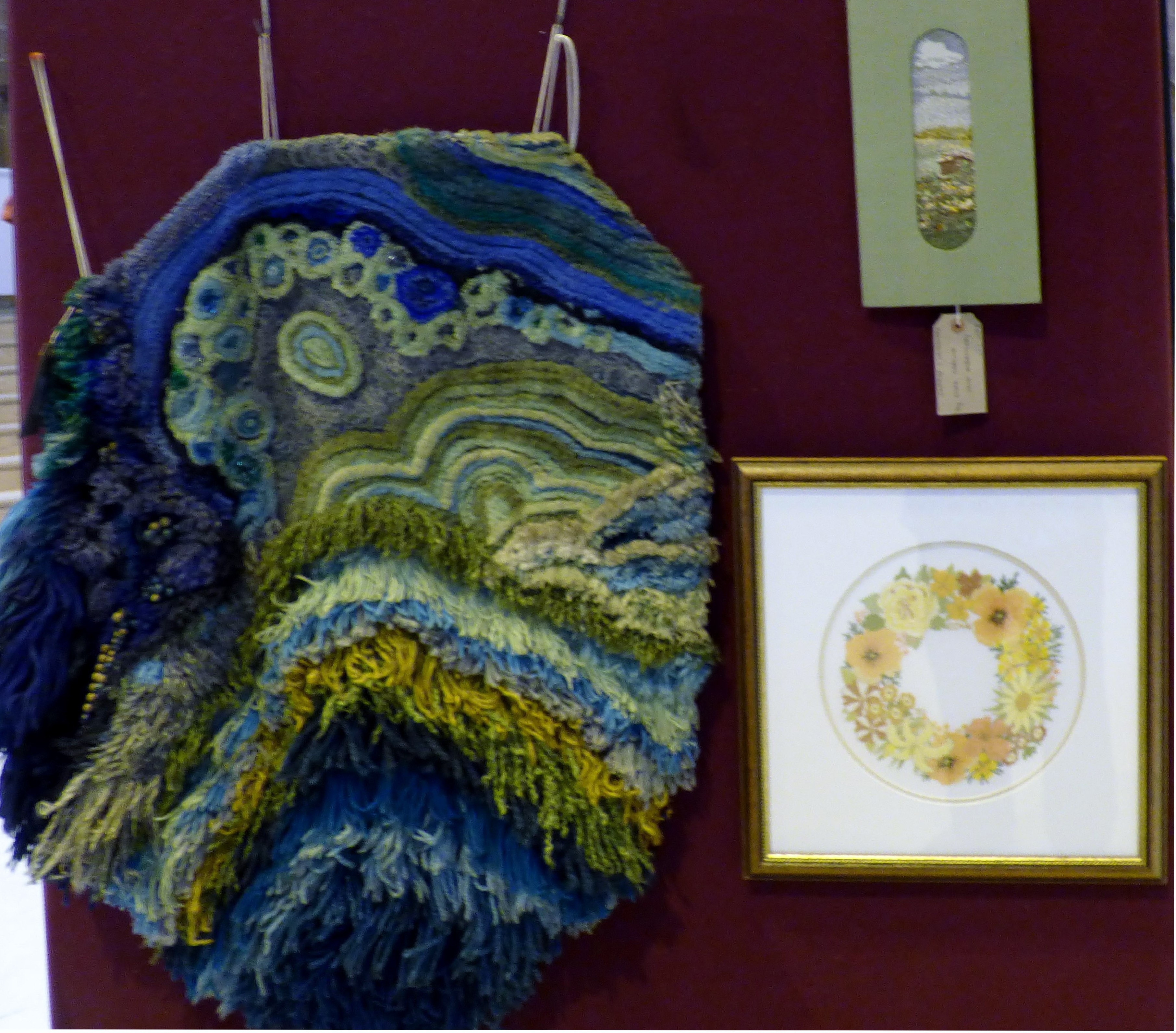 MALACHITE (1975) by Pat Stock, COTTAGE AND LANDSCAPE by Dora Carline and GOLDEN WEDDING by Barbara Reece at 60 golden Years exhibition 2016