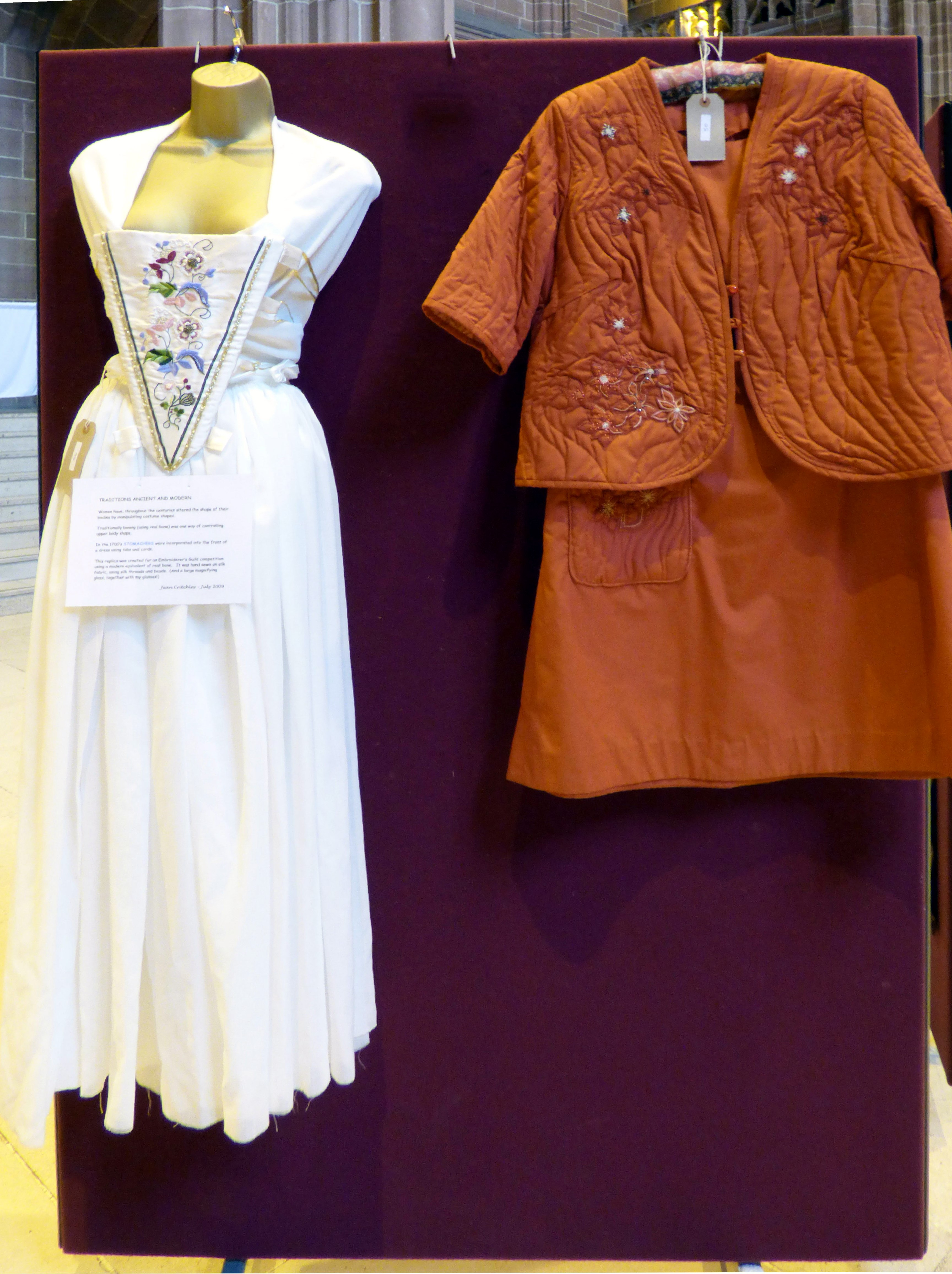 STOMACHER by Jean Critchley and DRESS AND JACKET by Dora Carline at 60 Glorious Years exhibition 2016