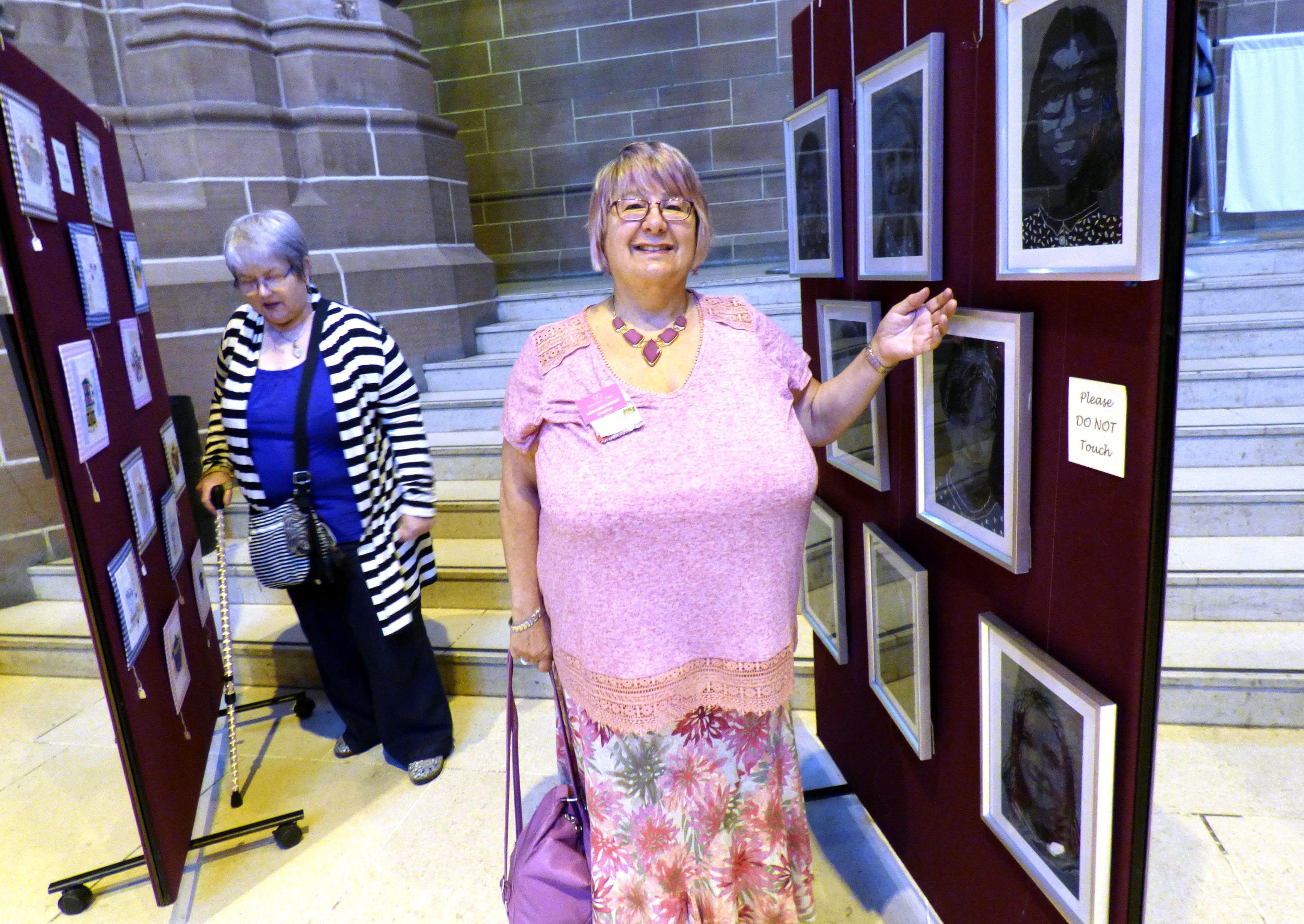 NW Regional Chair Val Coleshaw at 60 Glorious Years exhibition 2016