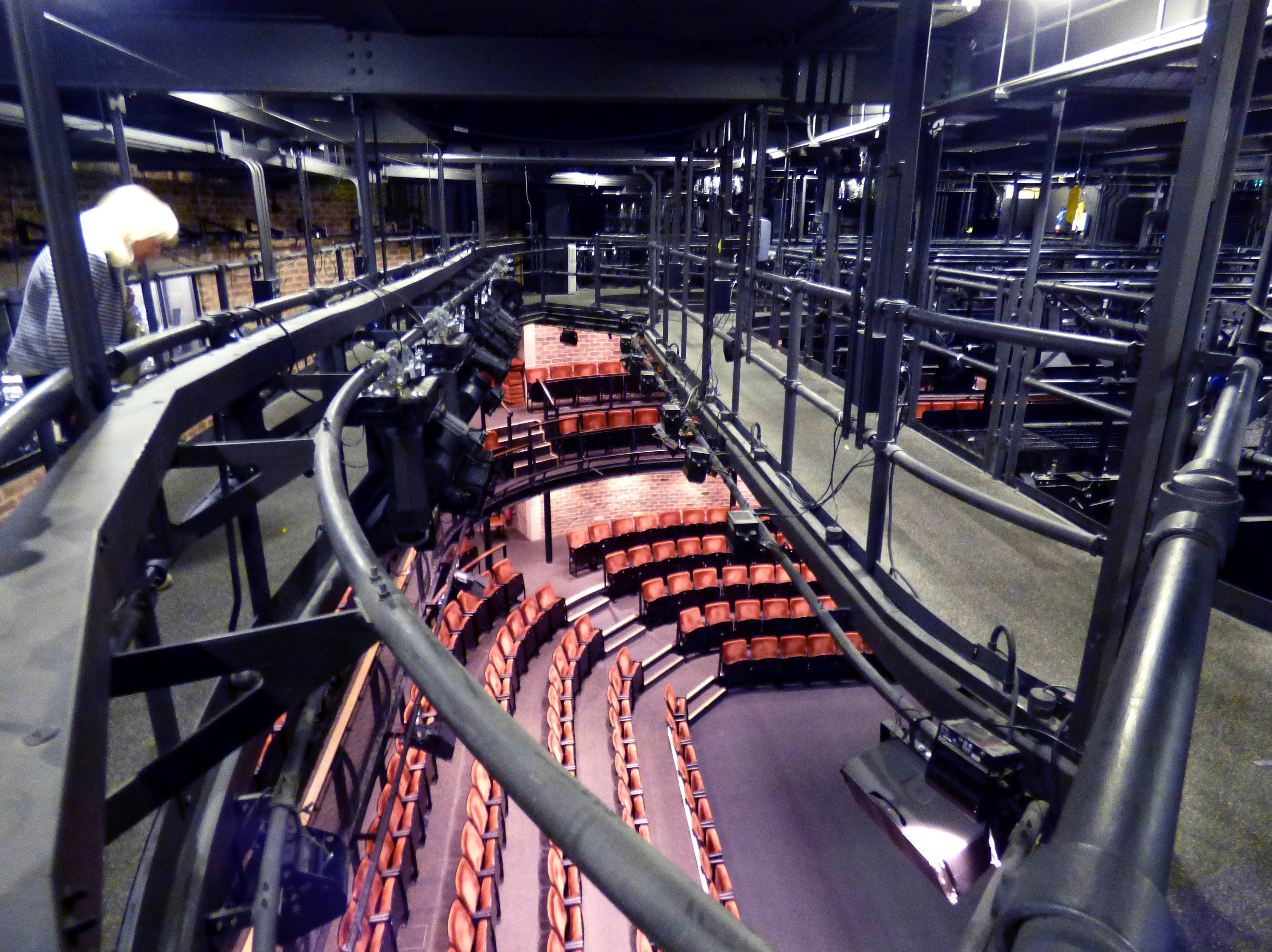 We are right above the stage in the lighting area of Everyman Theatre, Liverpool, July 2016