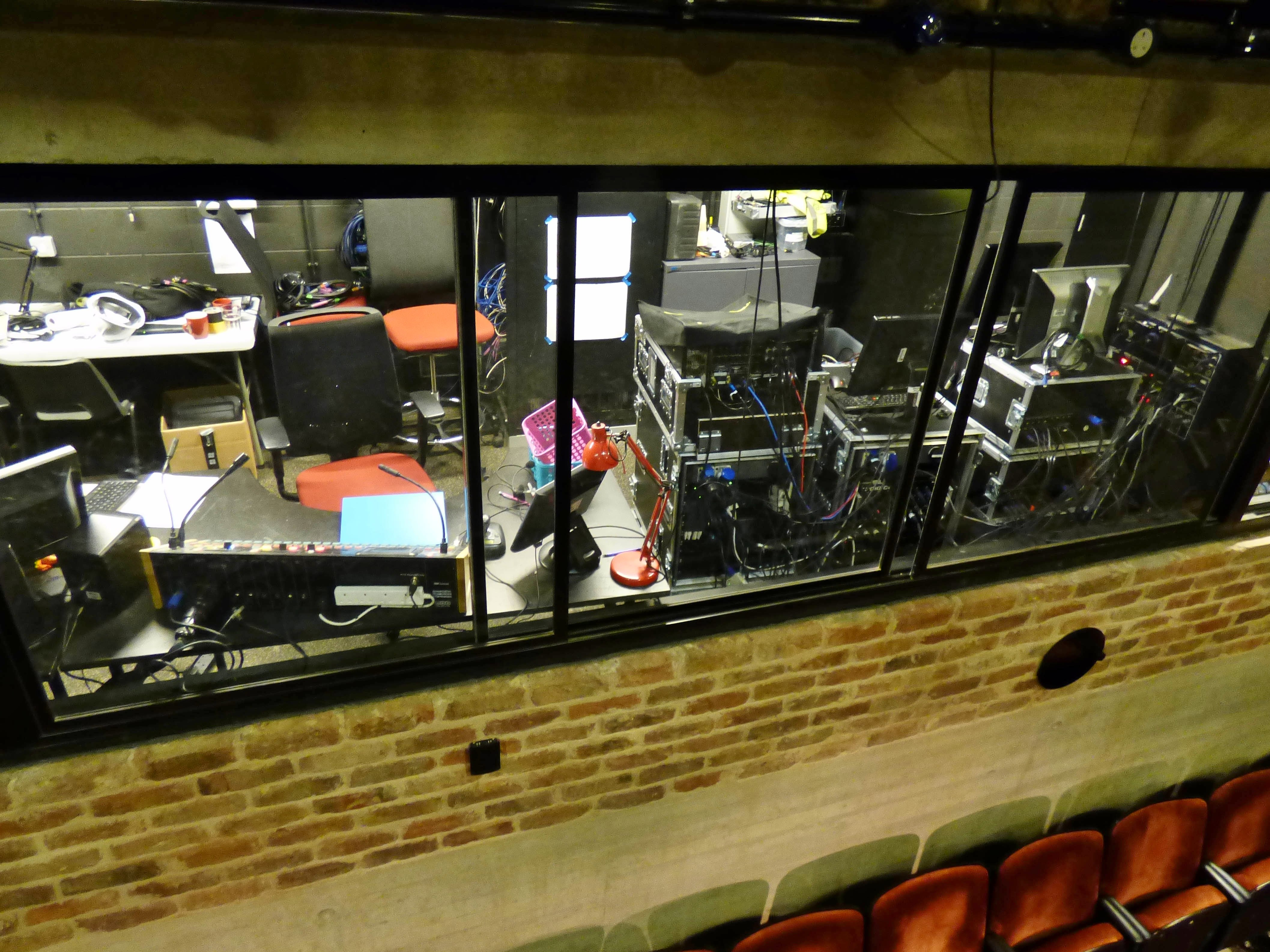 This is where the sound and audio description happen above the stage area in Everyman Theatre, liverpool, July 2016