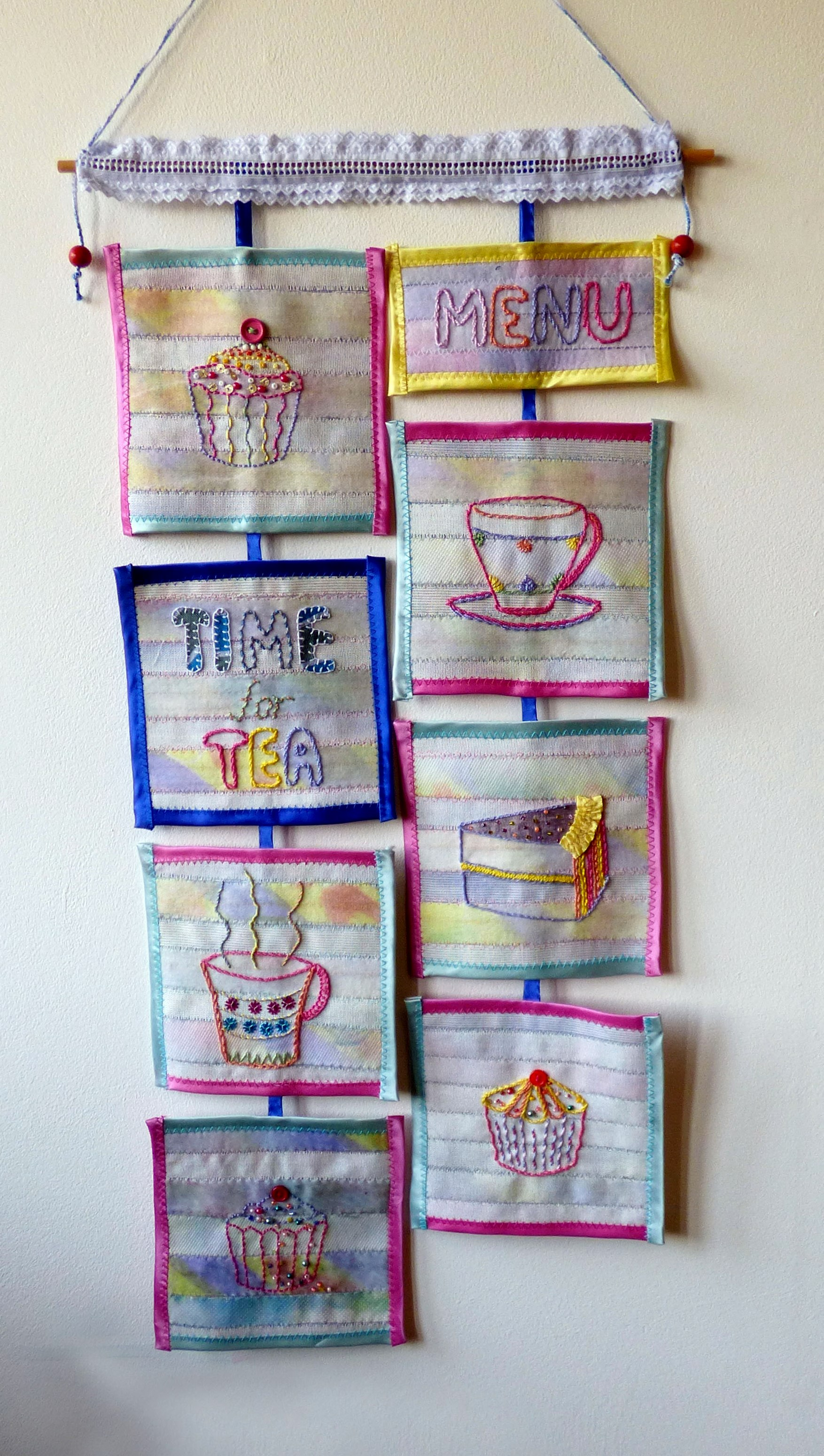 TIME FOR TEA, Manchester Megastitchers group work 2013, using tie linings as background fabric