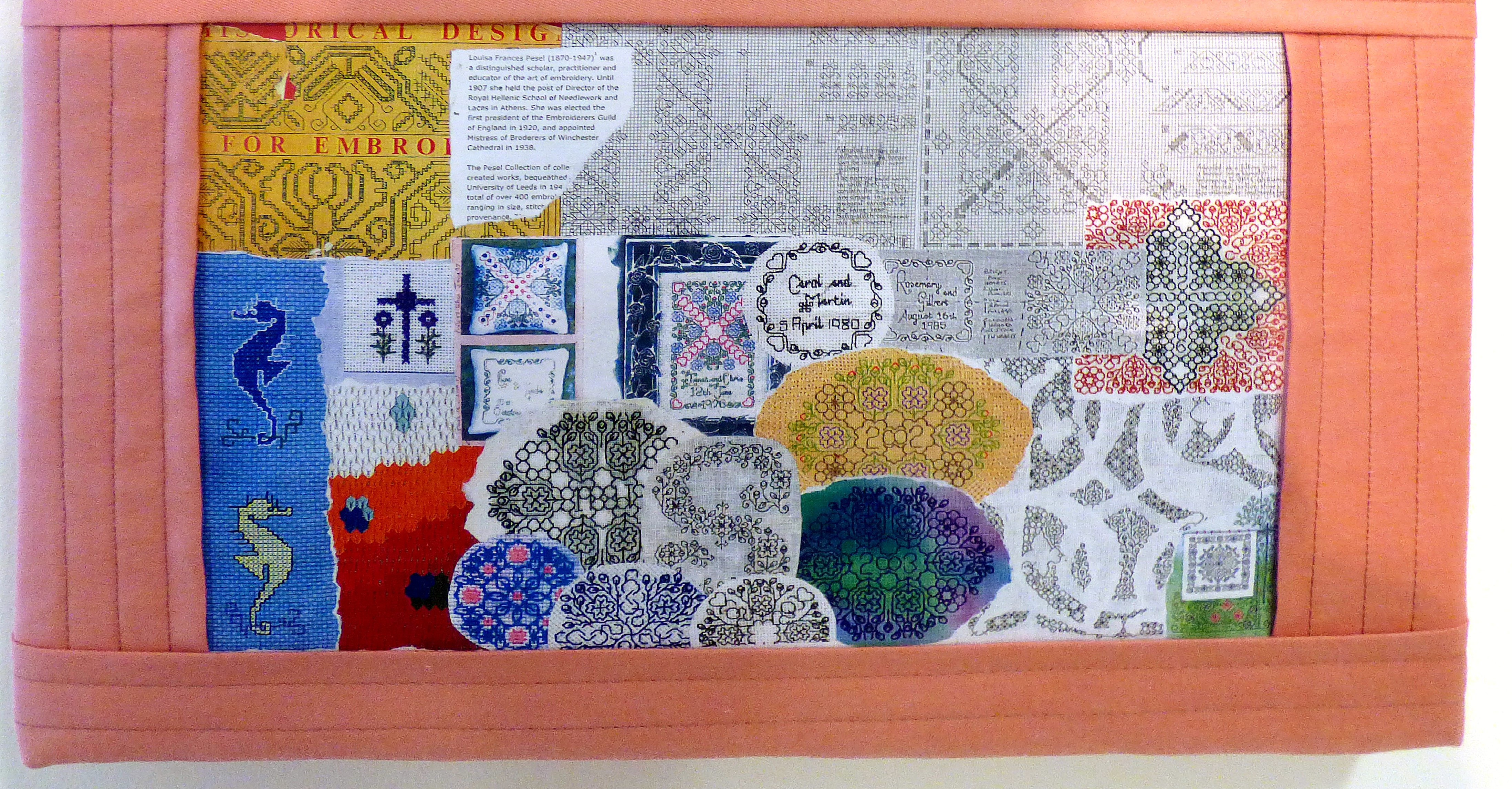 detail of SAMPLER (1969) by Serena Watson, counted thread work