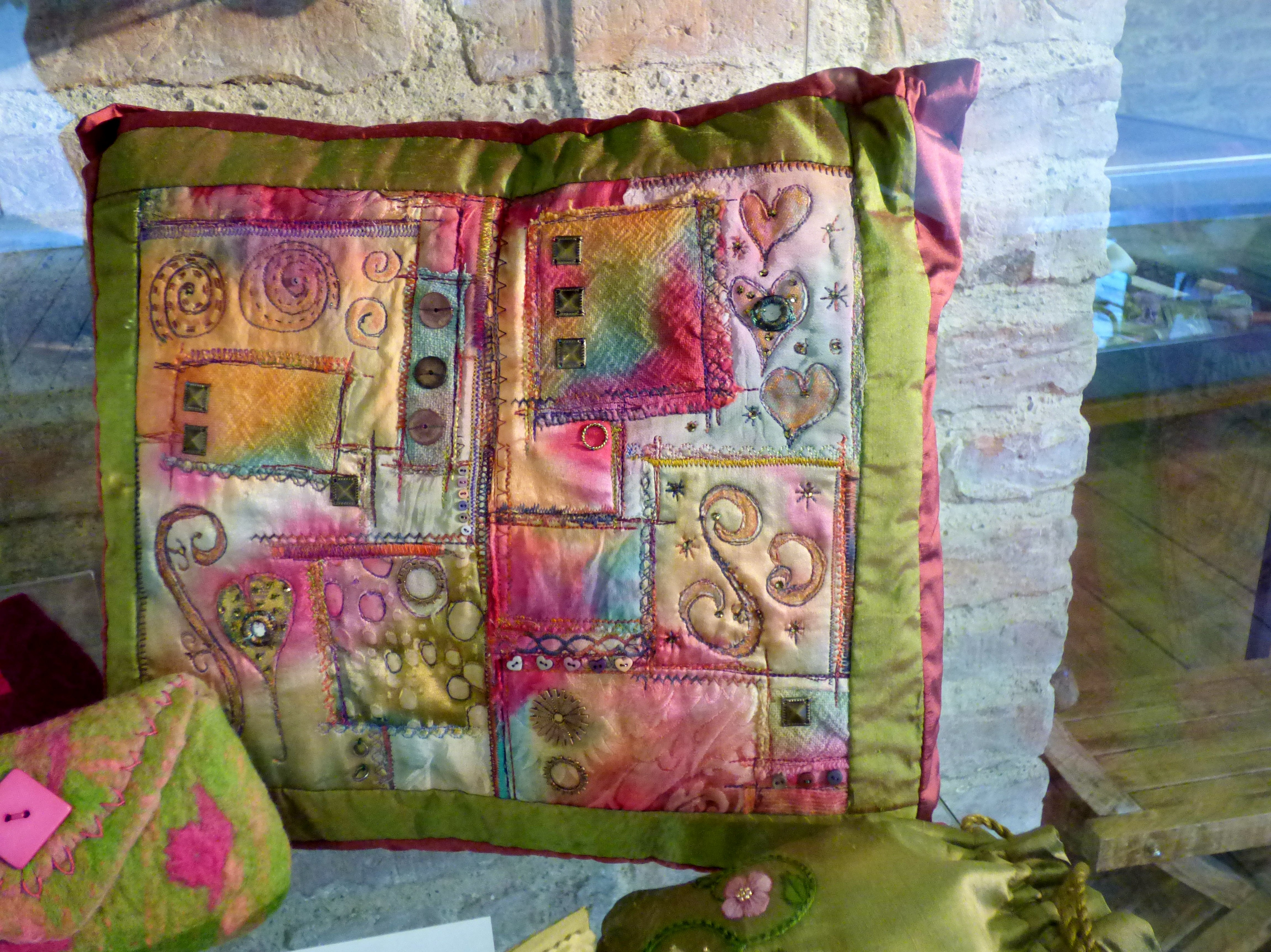 SPACE-DYED CUSHION by Joy Madden, dyed white fabrics with stitch