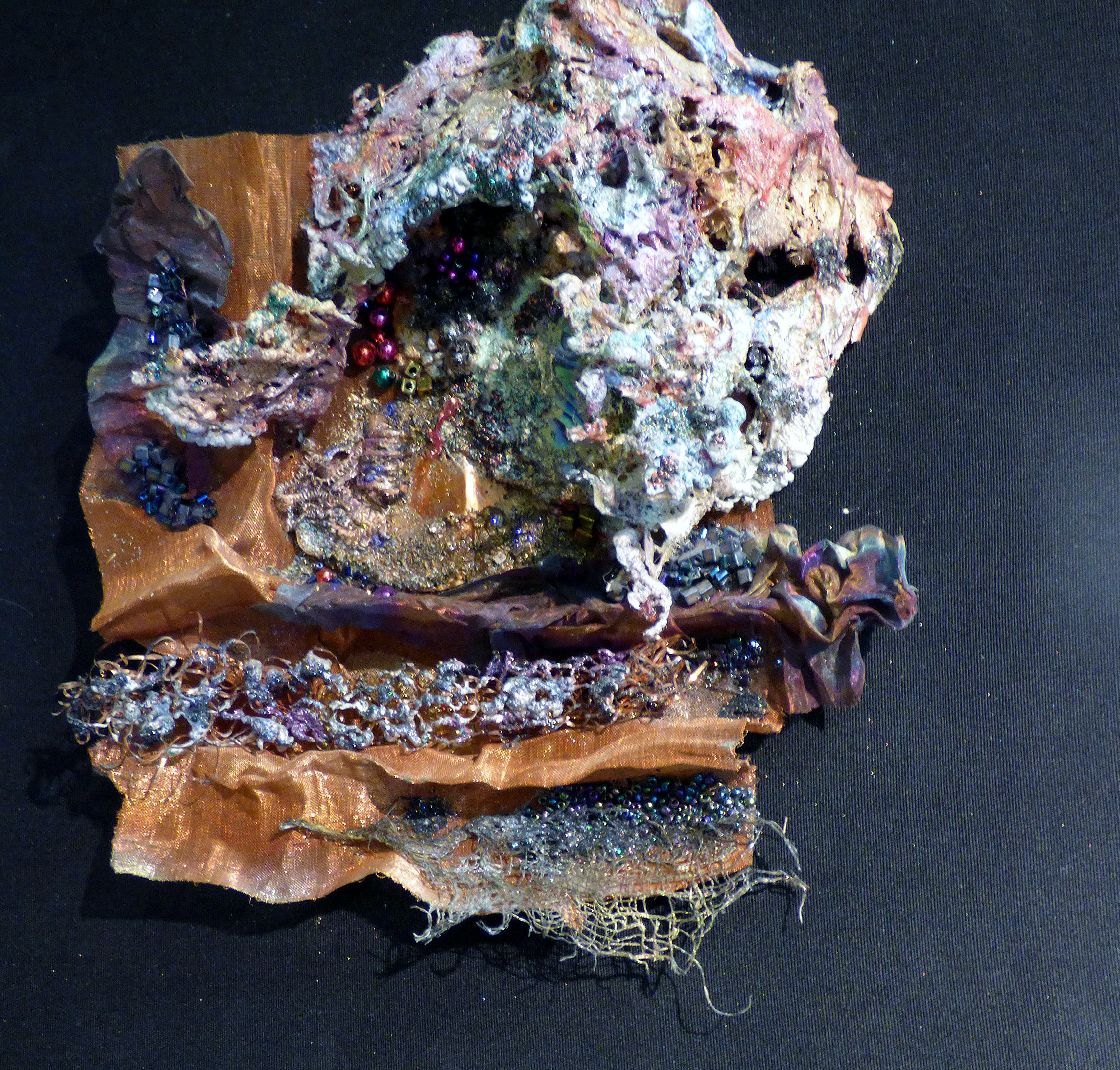 CONCRETION by Joy Madden, mixed media inspired by animal life clinging to underwater metal objects