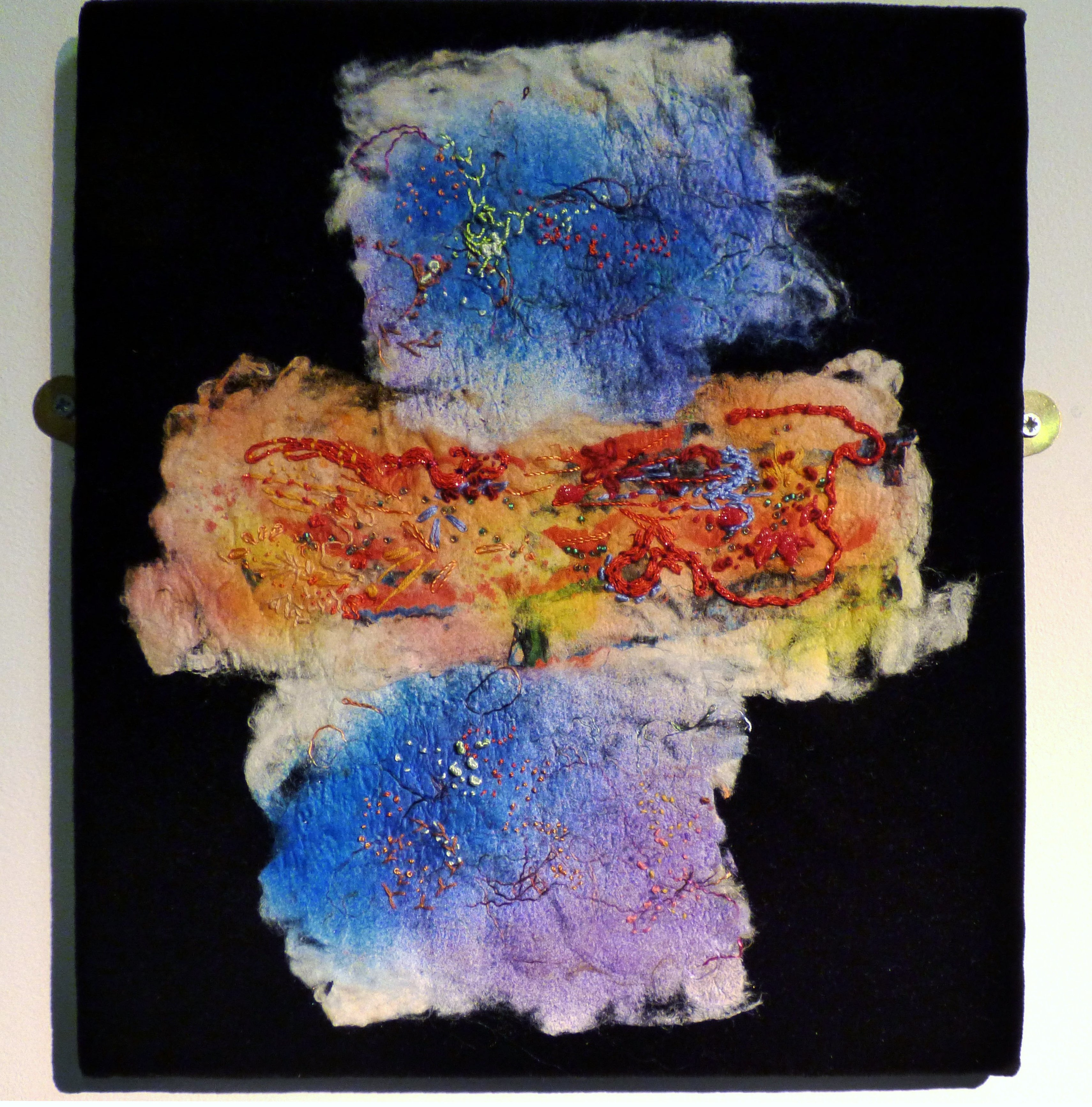 SKIES by Anne Tavener, mixed media using silk paper and stitch