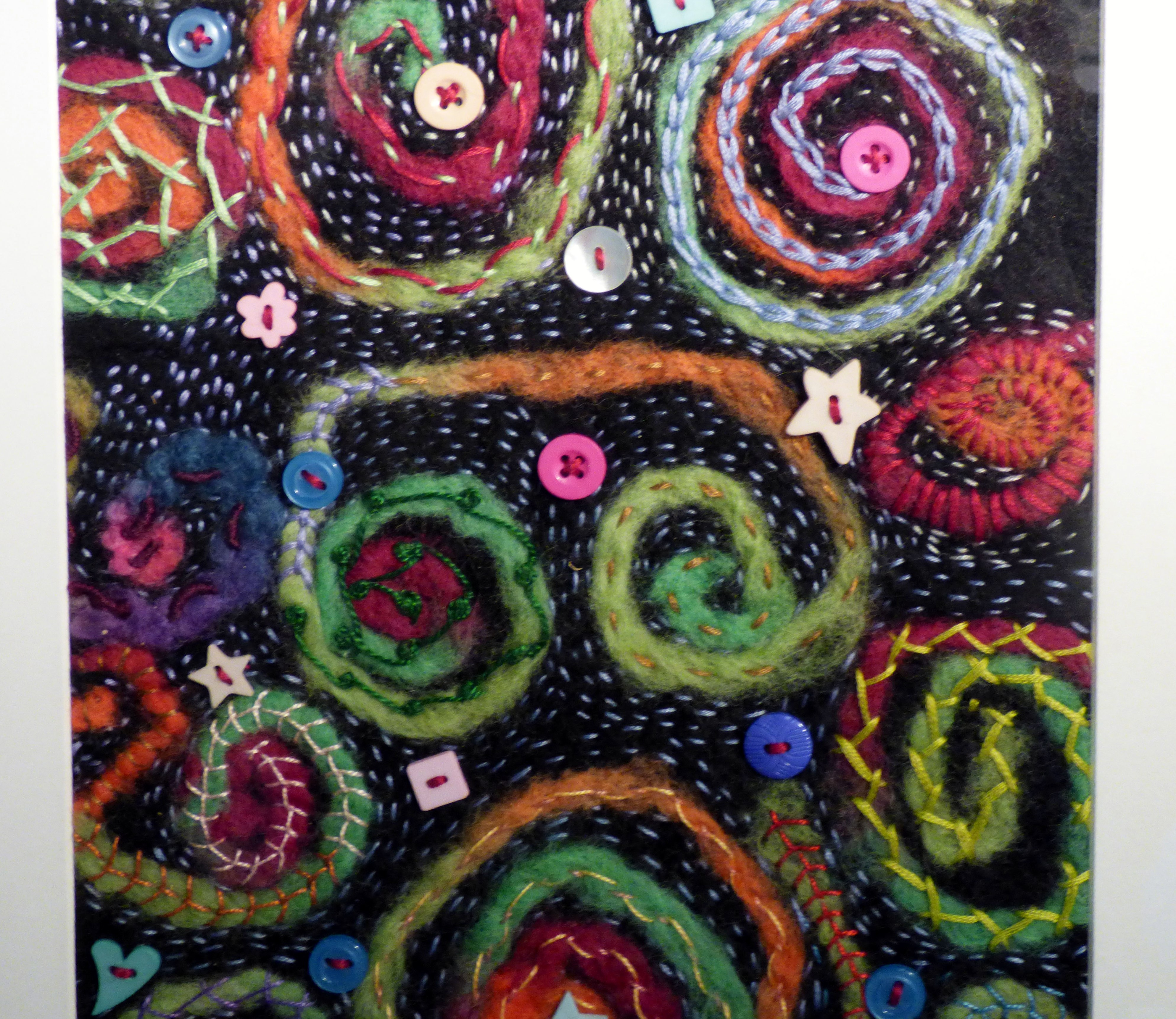 SPIRALLING OUT OF CONTROL by Yvonne Hunt, felt embellished with couching and buttons