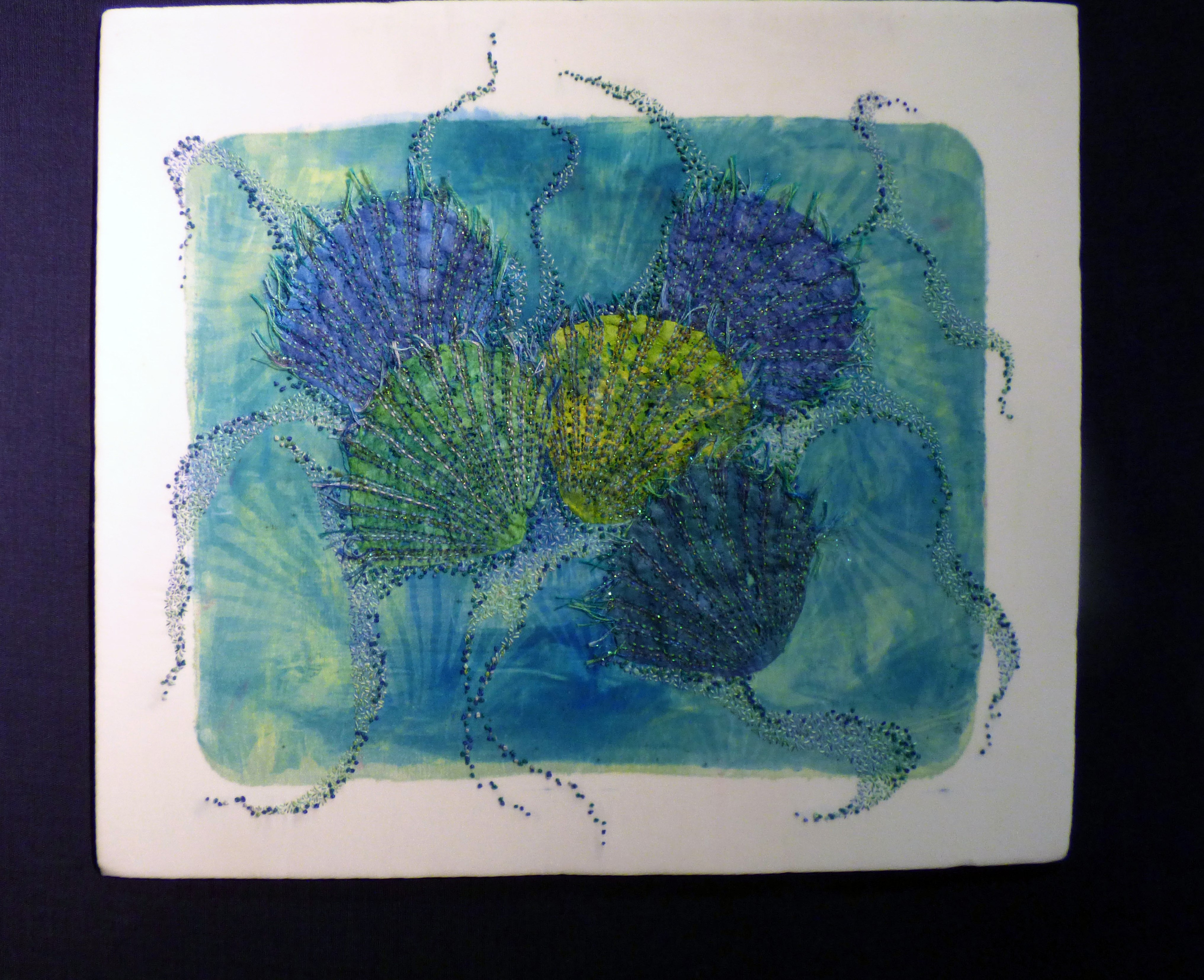 SHELL STUDY by Lynda Edwardes, hand embroidery on dyed and distressed fabric
