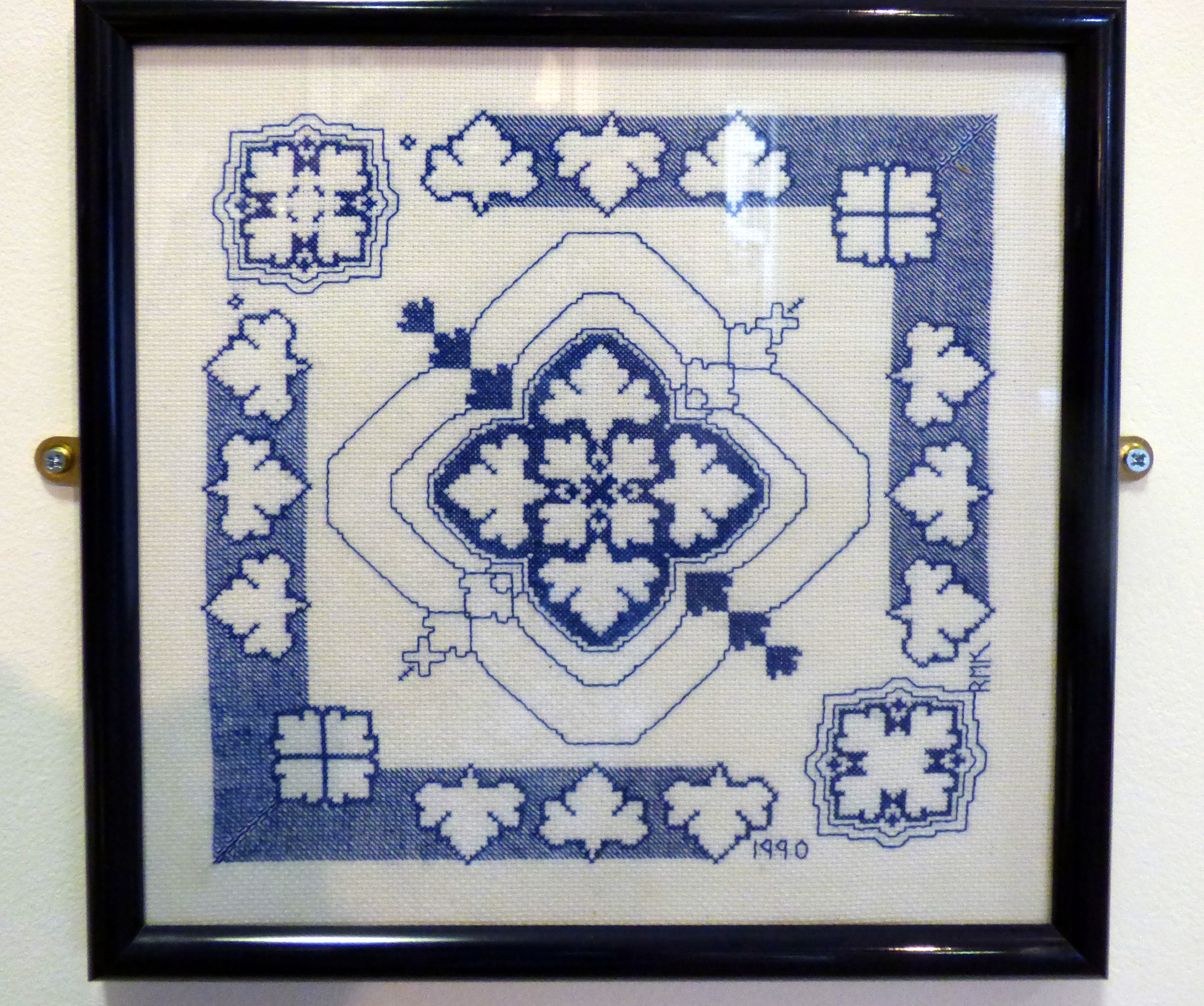BLUE & WHITE TILE by Rita Kurzwell, 1990, assissi work