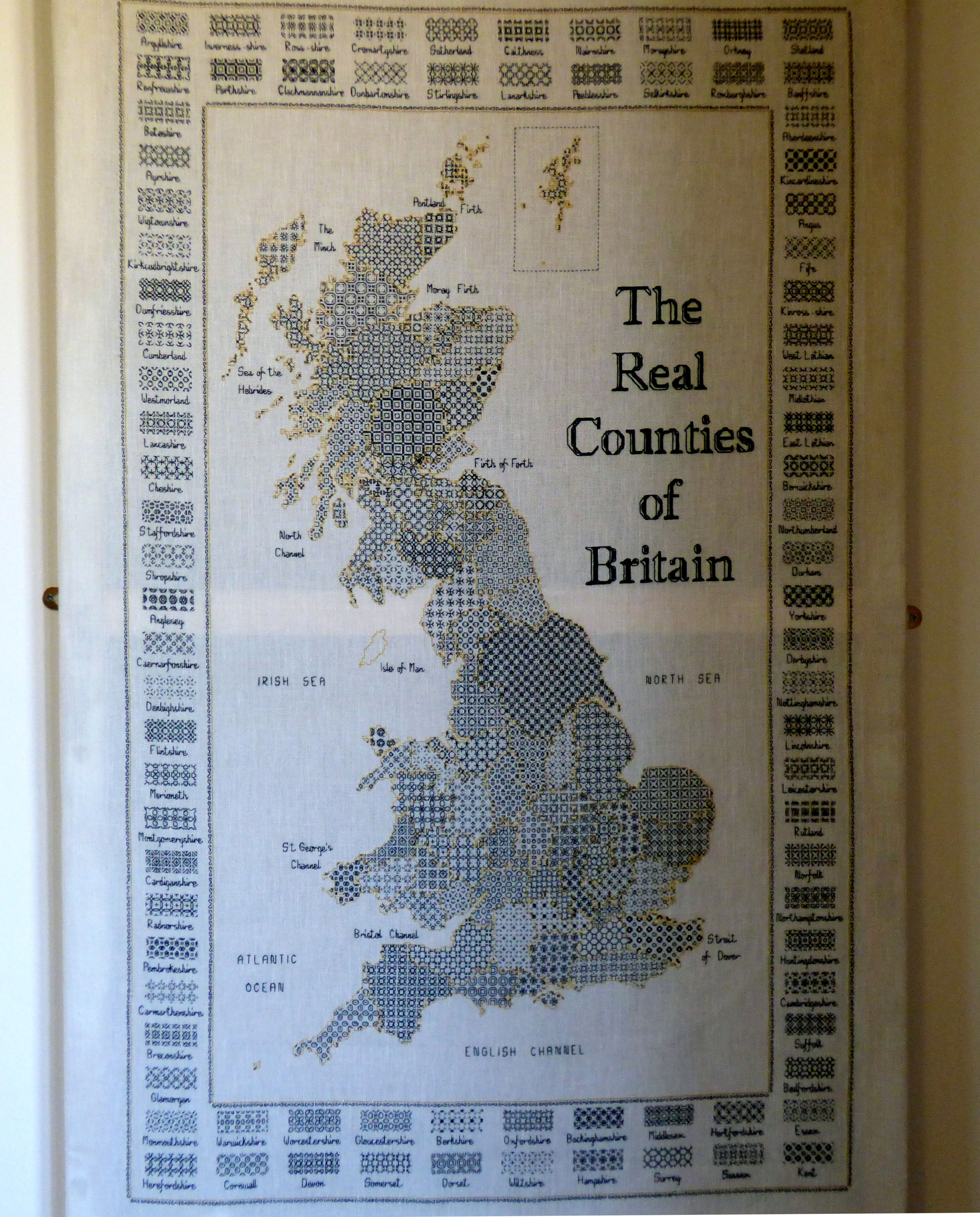 THE REAL COUNTIES OF GREAT BRITAIN by Christine Bourne, blackwork