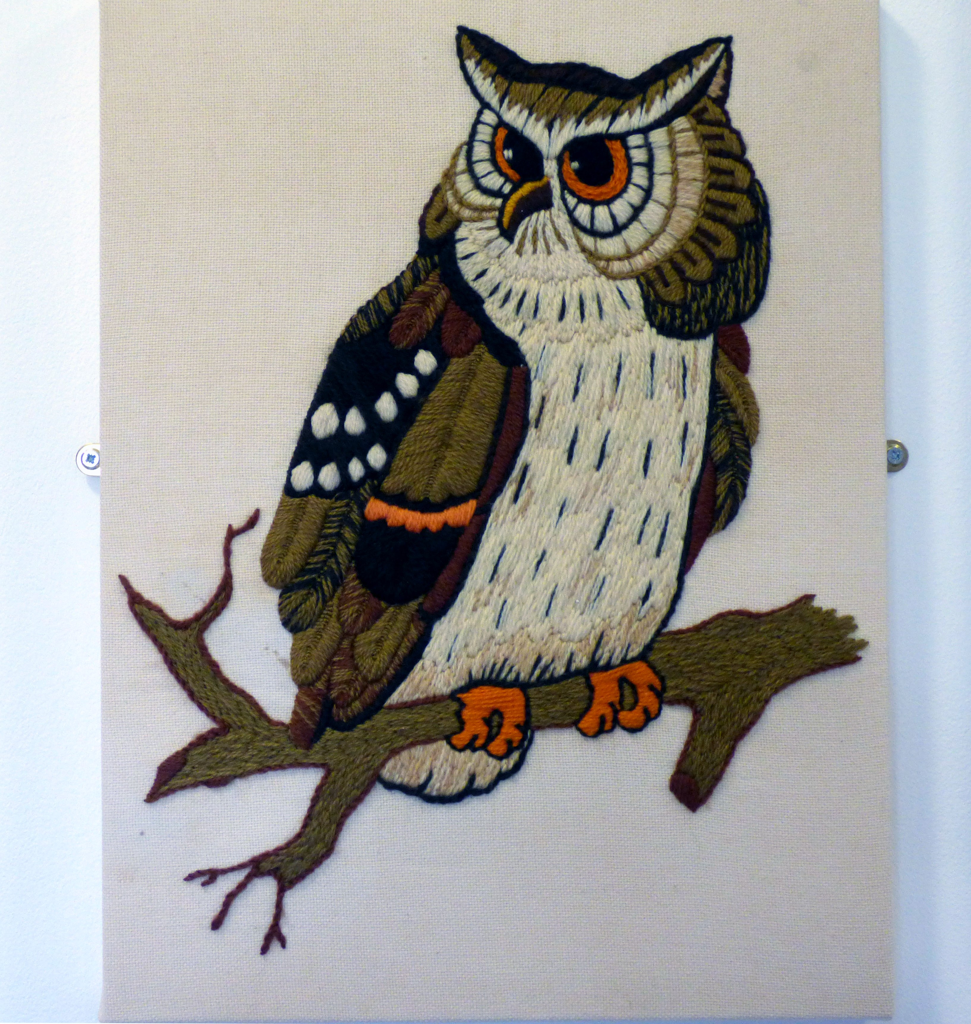 OWL by Sue Johnson, 1977, wool on cotton fabric, a first embroidery from a kit